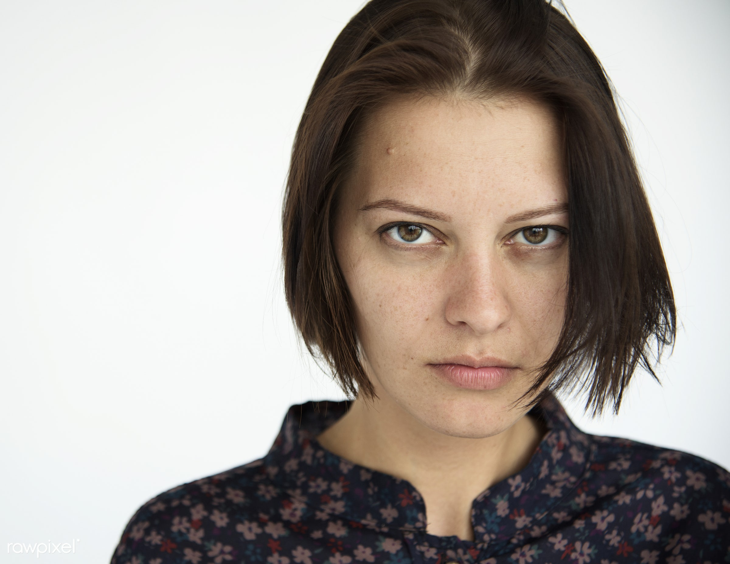 Portrait of woman with short brown hair - studio, angry, people, caucasian, staring, girl, solo, woman, casual, serious,...