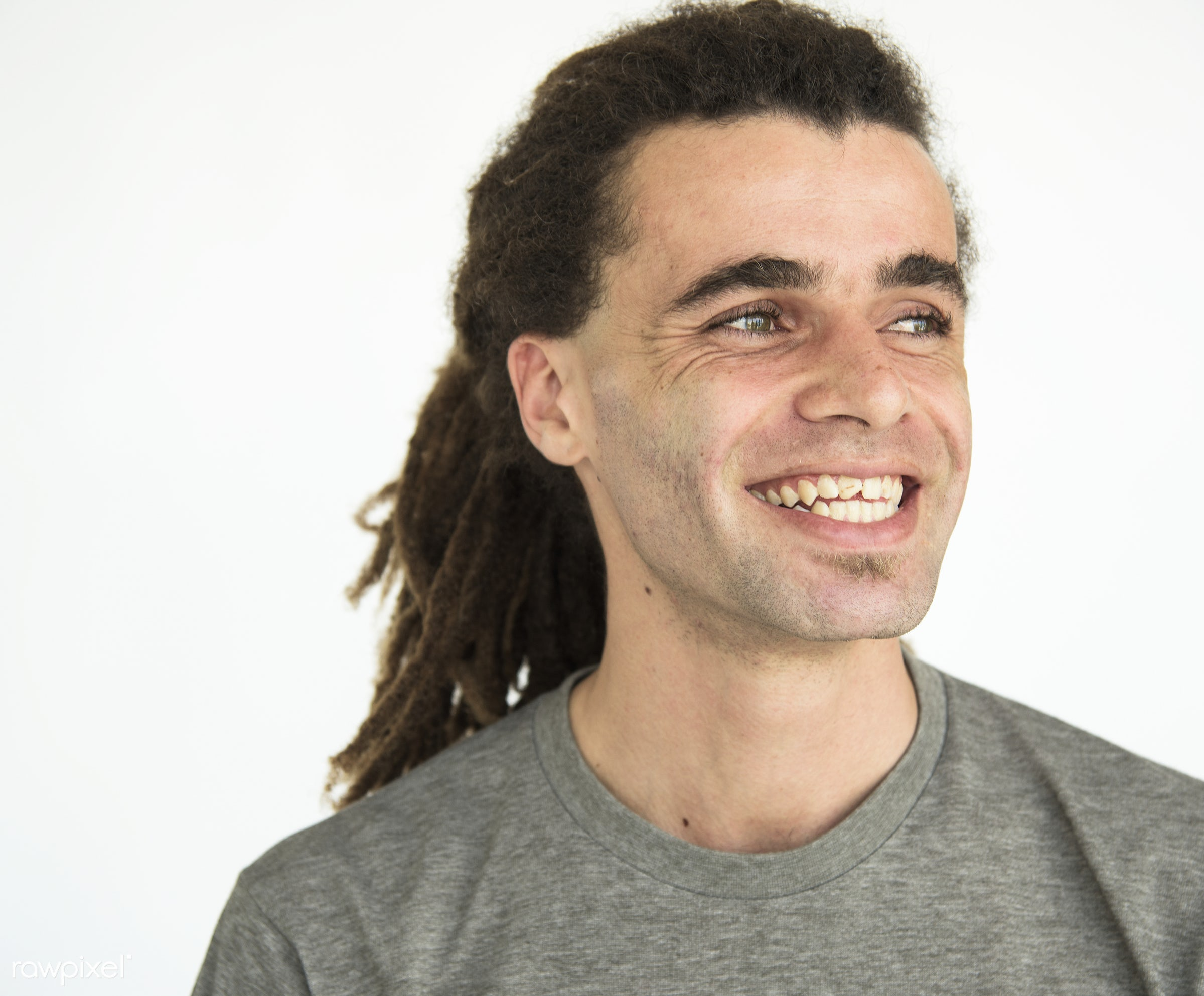 Guy with dreadlocks smiling positive portrait - adult, alone, background, blank, casual, cheerful, dreadlocks, expression,...
