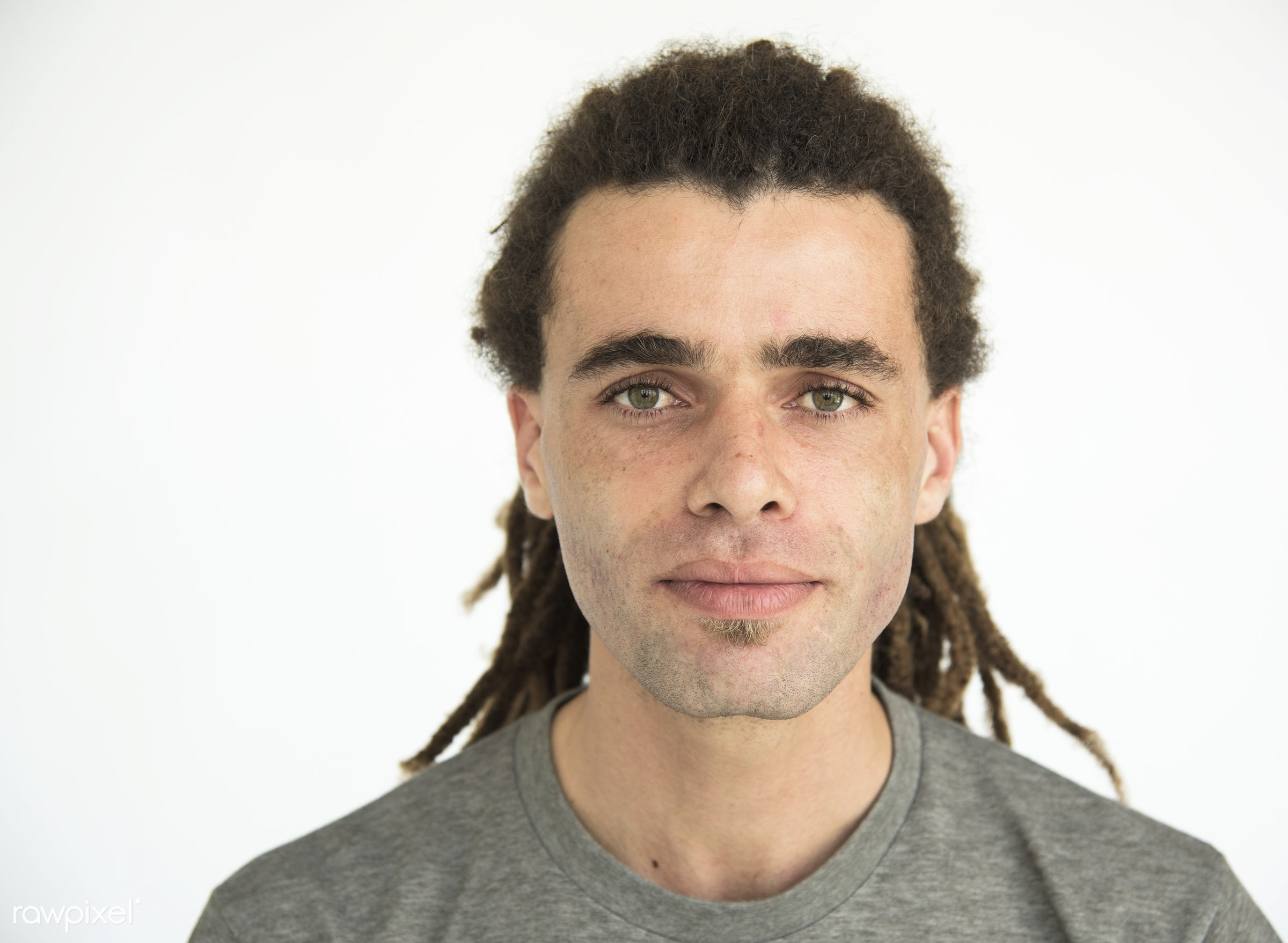 expression, studio, face, people, caucasian, solo, casual, serious, alone, man, isolated, blank, dreadlocks, guy, male,...