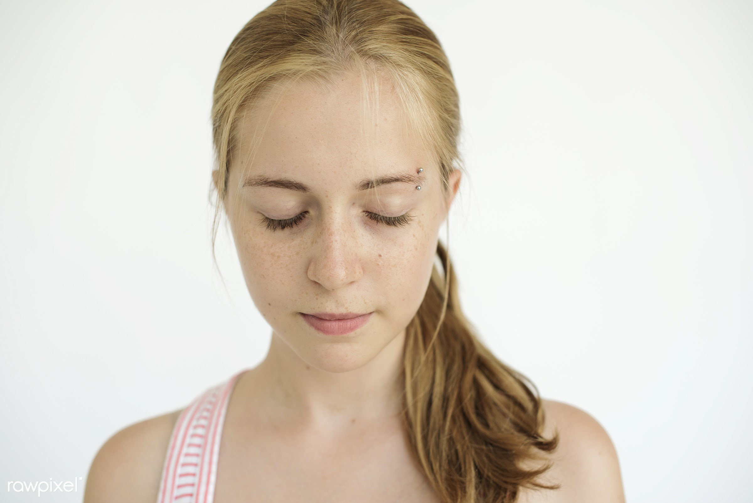Young blonde closed eyes peaceful portrait - inhale, alone, background, blonde, breathe, calm, casual, caucasian, closed,...