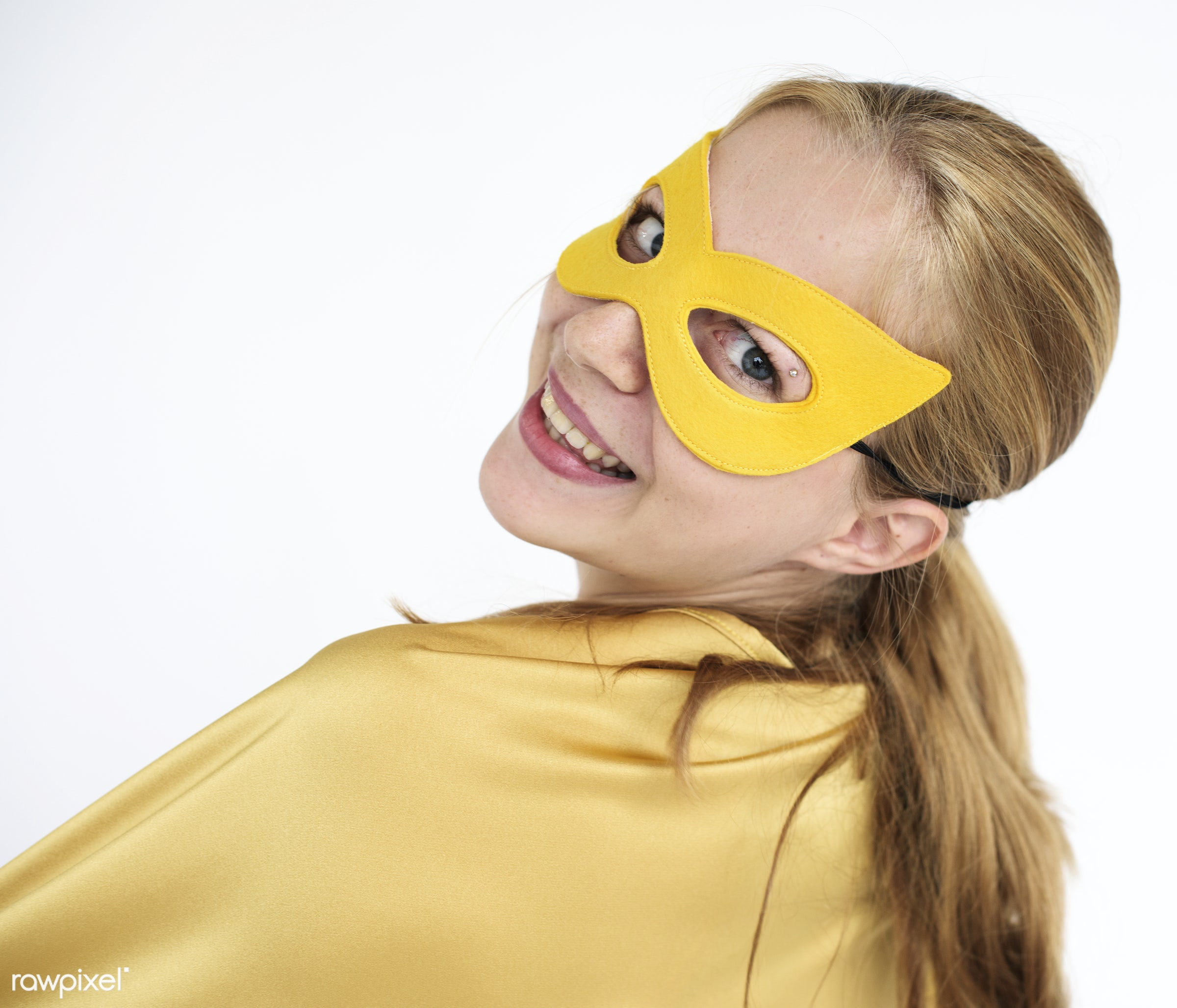 Blonde girl in superhero costume - alone, background, blonde, blonde hair, blue eyed, cape, casual, caucasian, cheerful,...