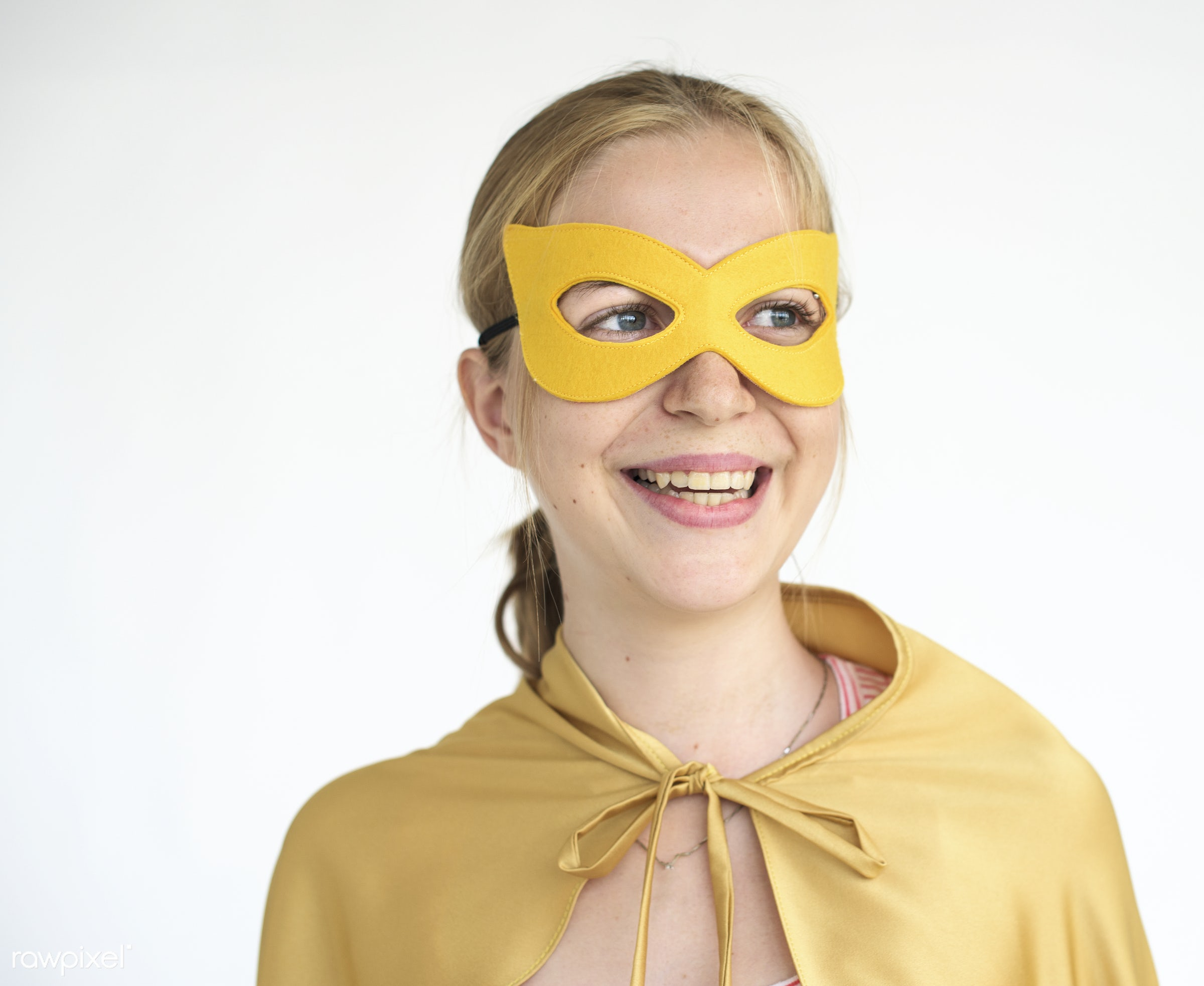 Blonde girl in superhero costume - studio, expression, cape, mask, people, positivity, disguise, caucasian, girl, solo,...