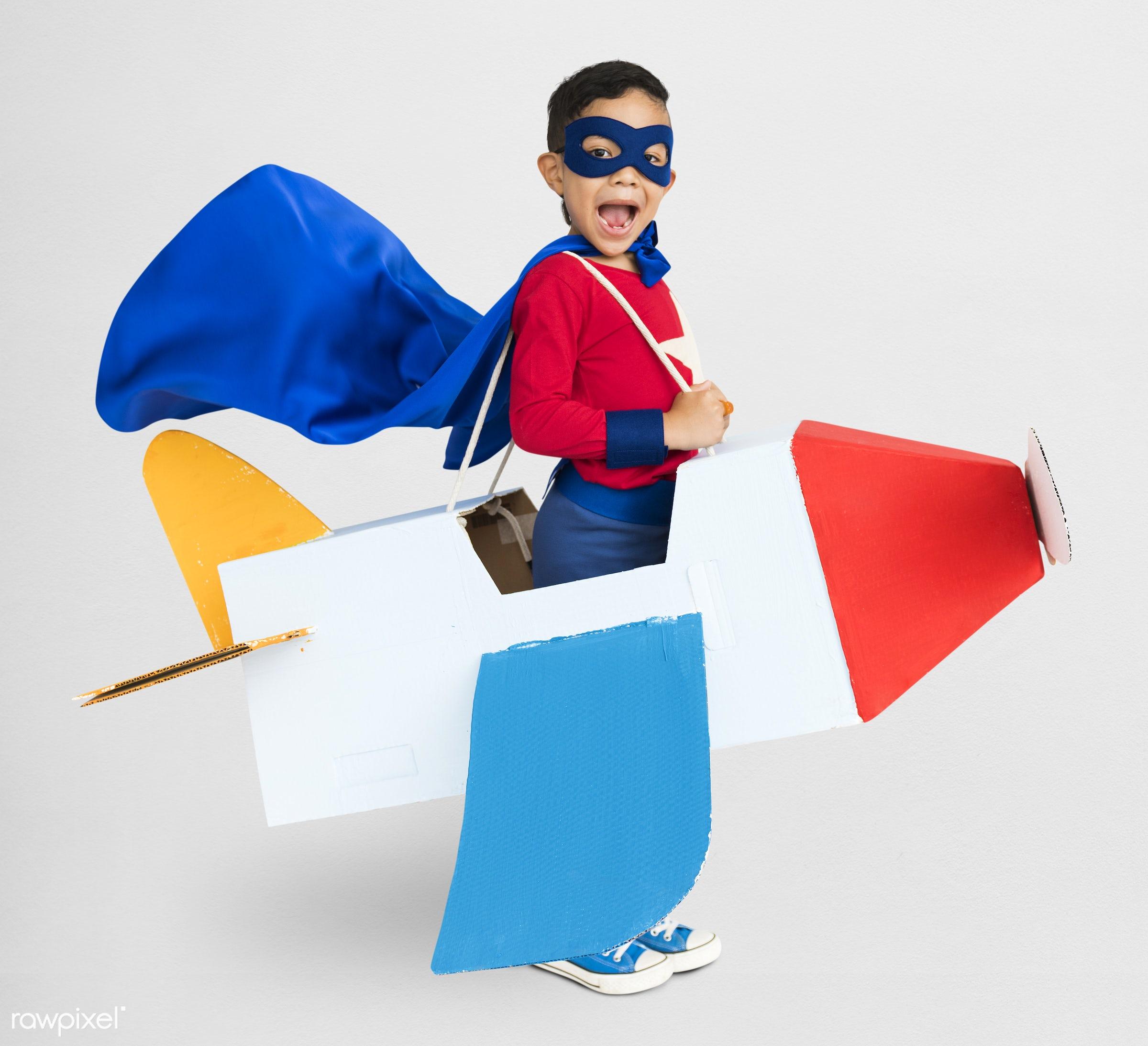superhero, airplane, asian, background, boy, casual, cheerful, child, childhood, costume, cute, emotion, expression, fun,...