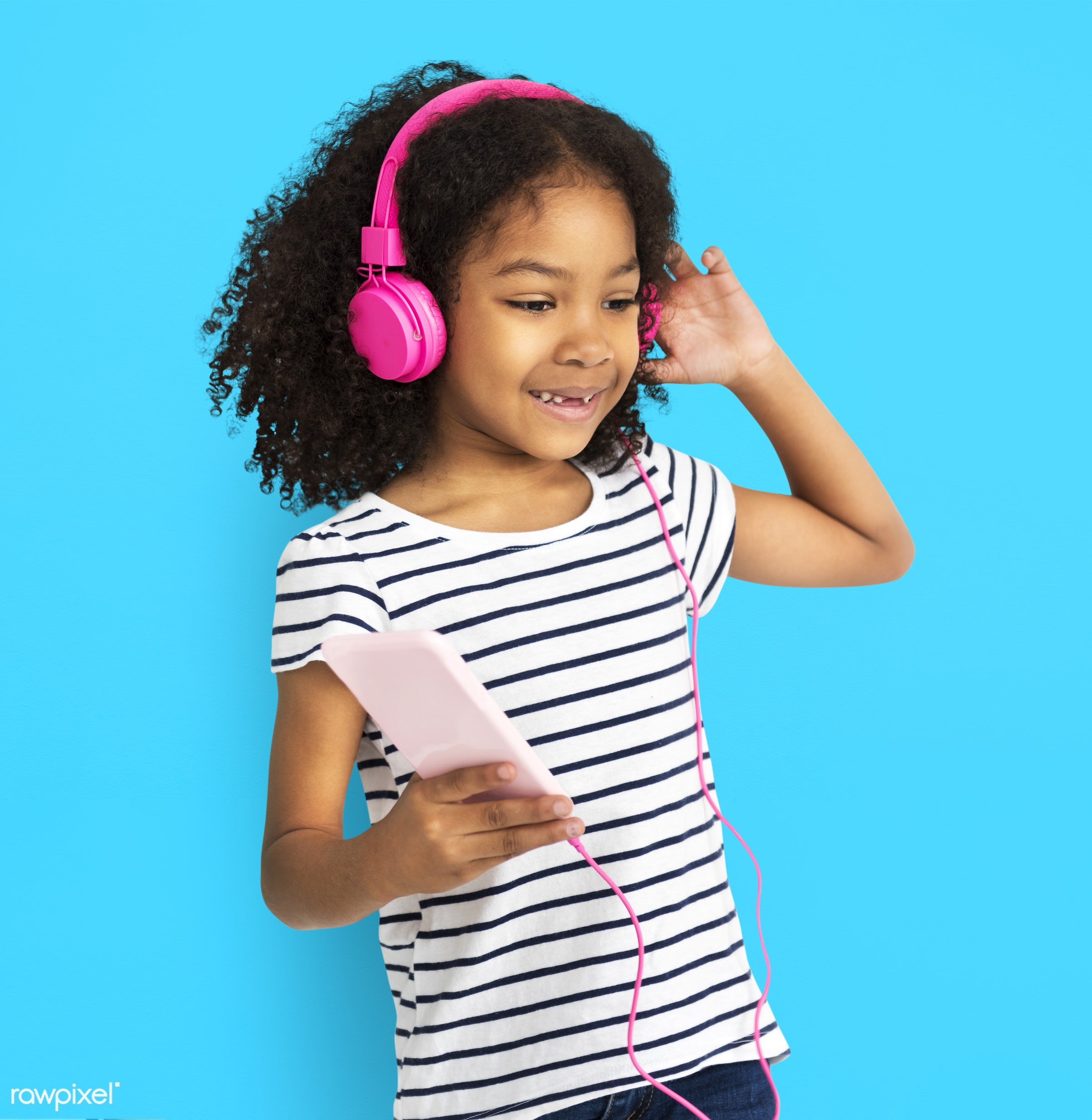 studio, expression, person, technology, cute, pretty, people, child, girl, happy, casual, childhood, listen, cheerful,...