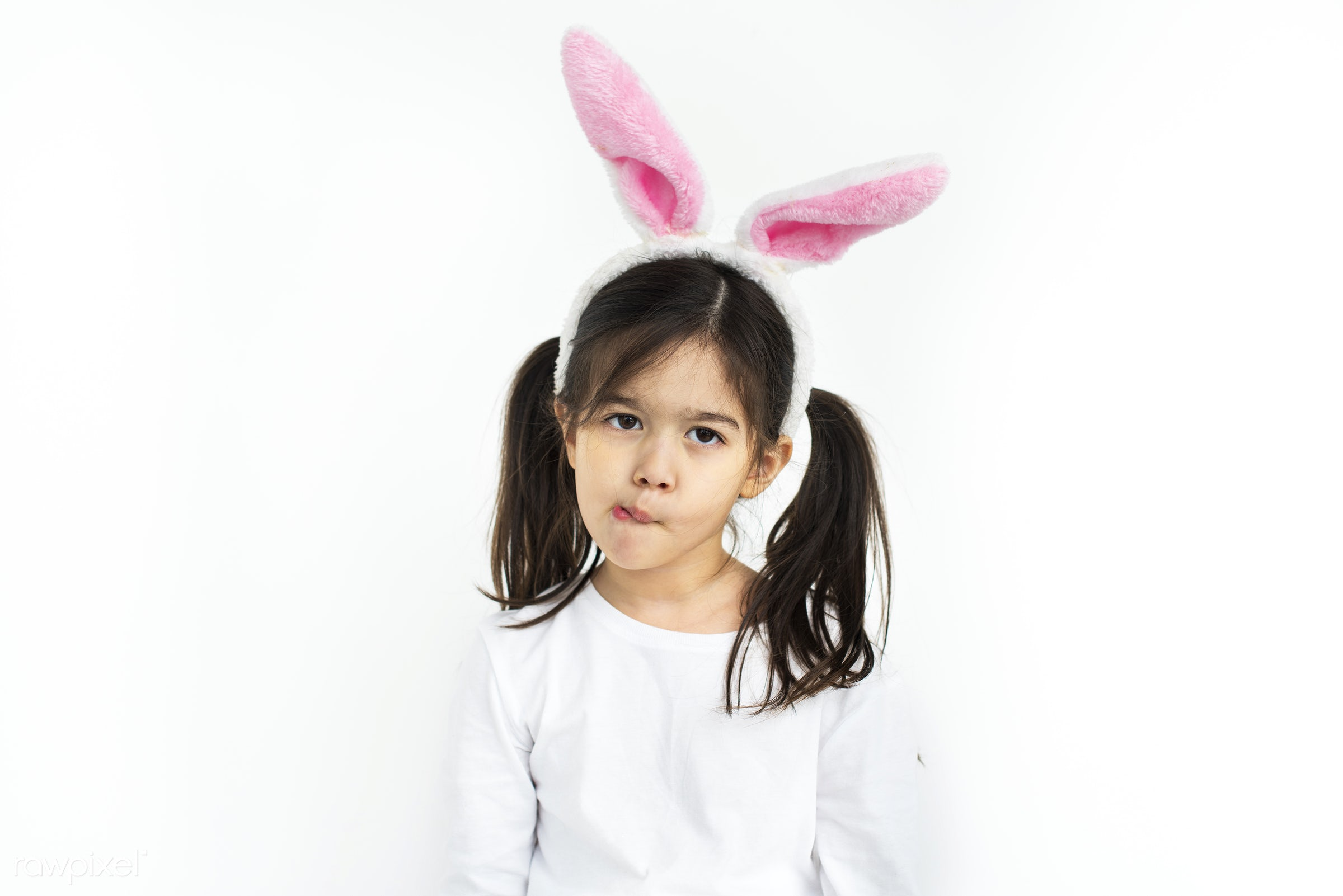 expression, rabbit, studio, person, cute, people, pretty, child, girl, casual, childhood, isolated, youth, kids, young,...