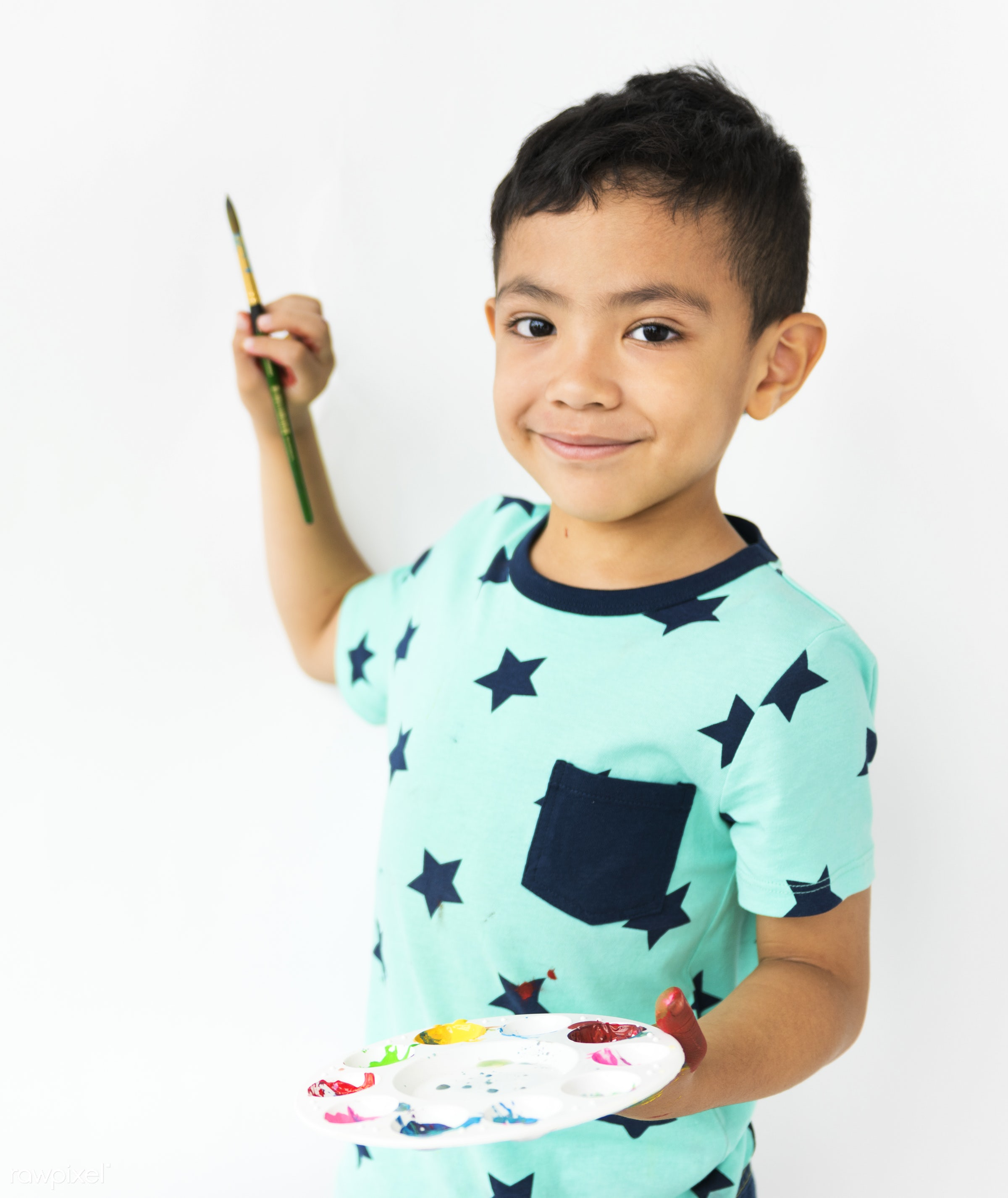 studio, expression, person, little, recreation, people, kid, smiling, isolated, art, son, happiness, leisure, paint, fun,...