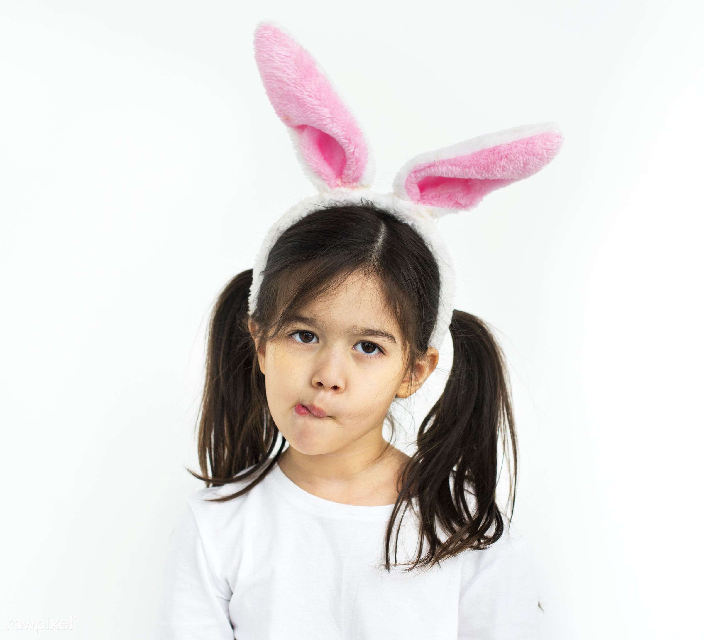Young kids studio shoot - asian, child, expression, girl, isolated, isolated on white, kid, rabbit, studio, white background...