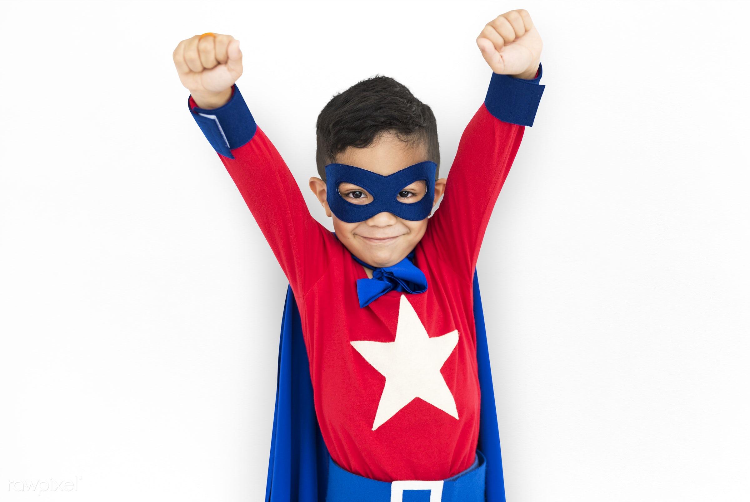 children, courageous, adolescence, kid, child, inspiration, leader, idol, childhood, superhero, isolated, hero, white,...