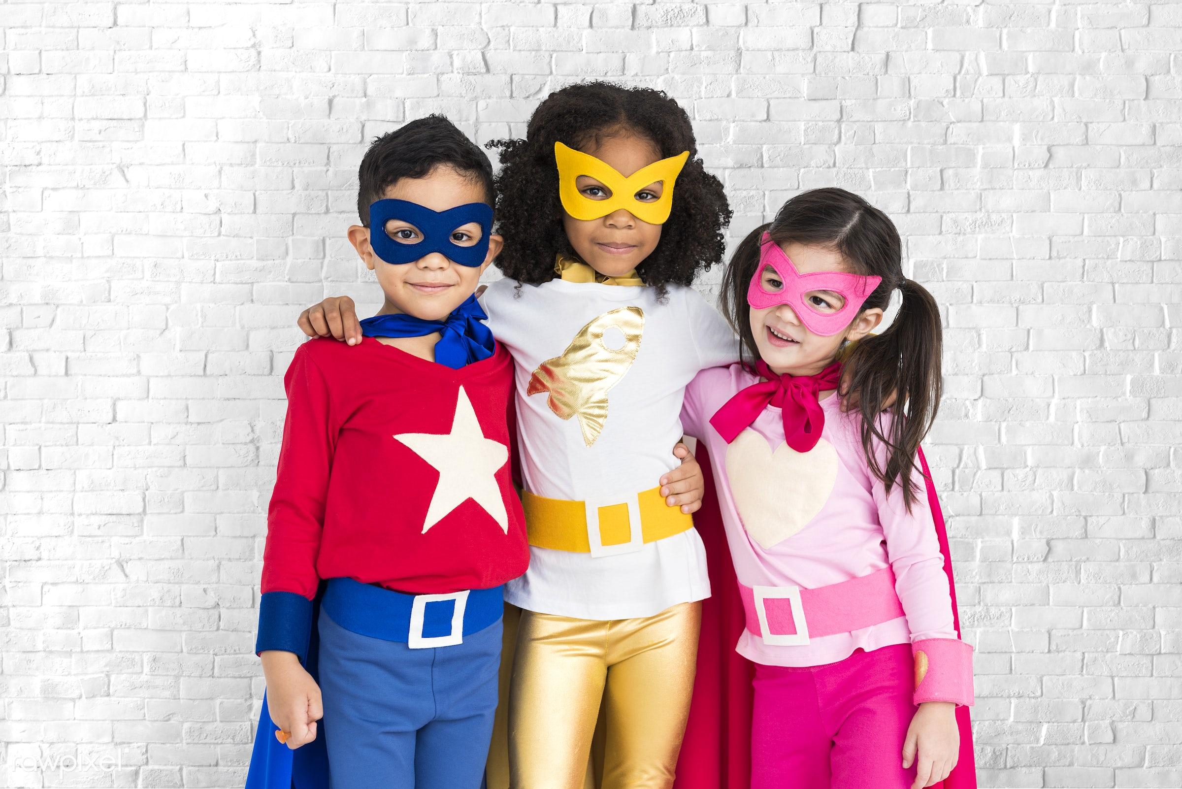 brick, children, courageous, kid, adolescence, child, girl, inspiration, leader, idol, childhood, superhero, isolated, hero...