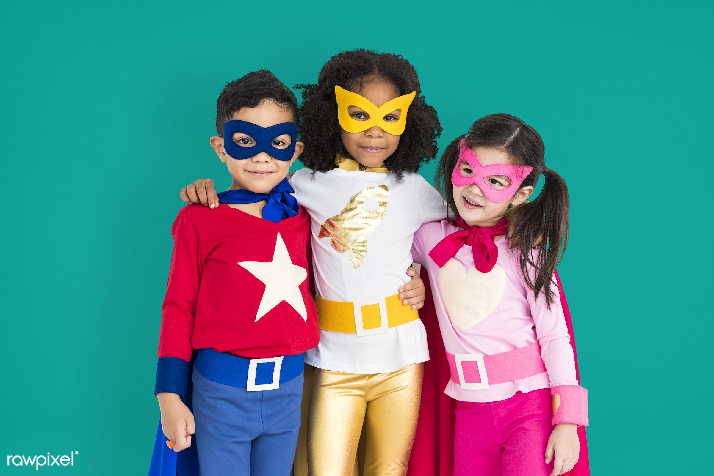 children, courageous, kid, adolescence, child, girl, inspiration, leader, idol, childhood, superhero, isolated, hero, green...