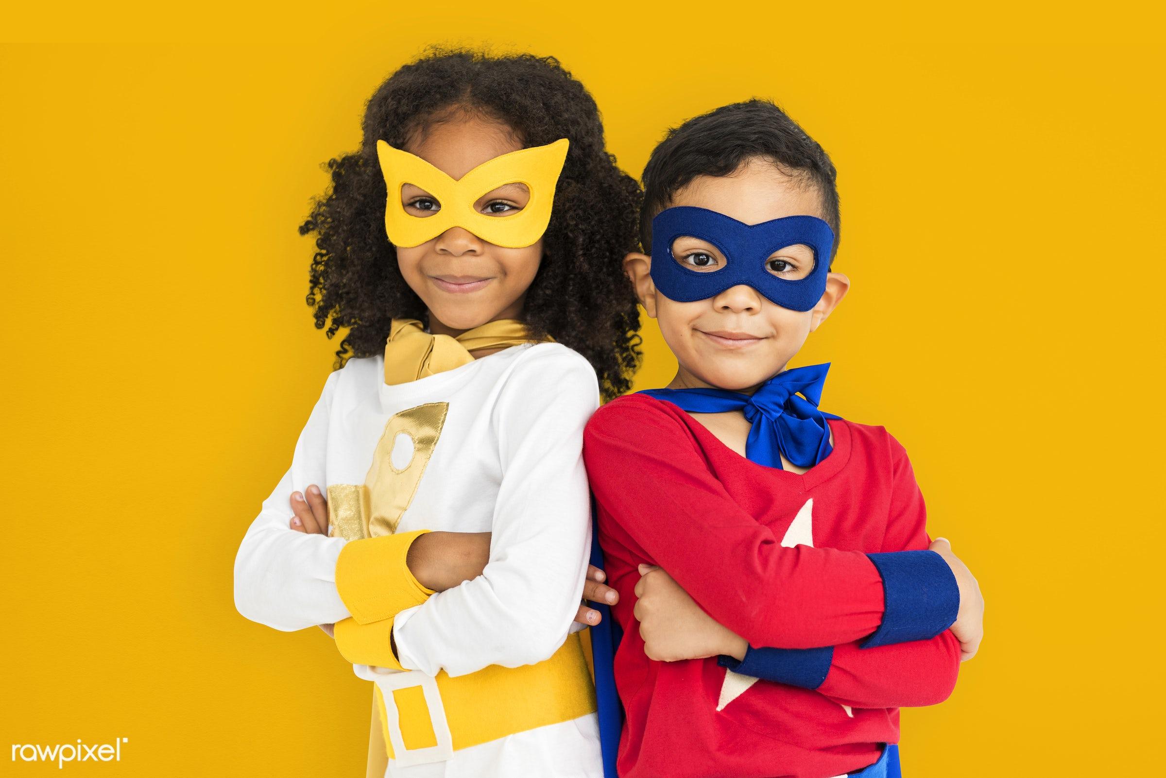 children, courageous, kid, adolescence, child, girl, inspiration, leader, beige, idol, childhood, superhero, isolated, hero...