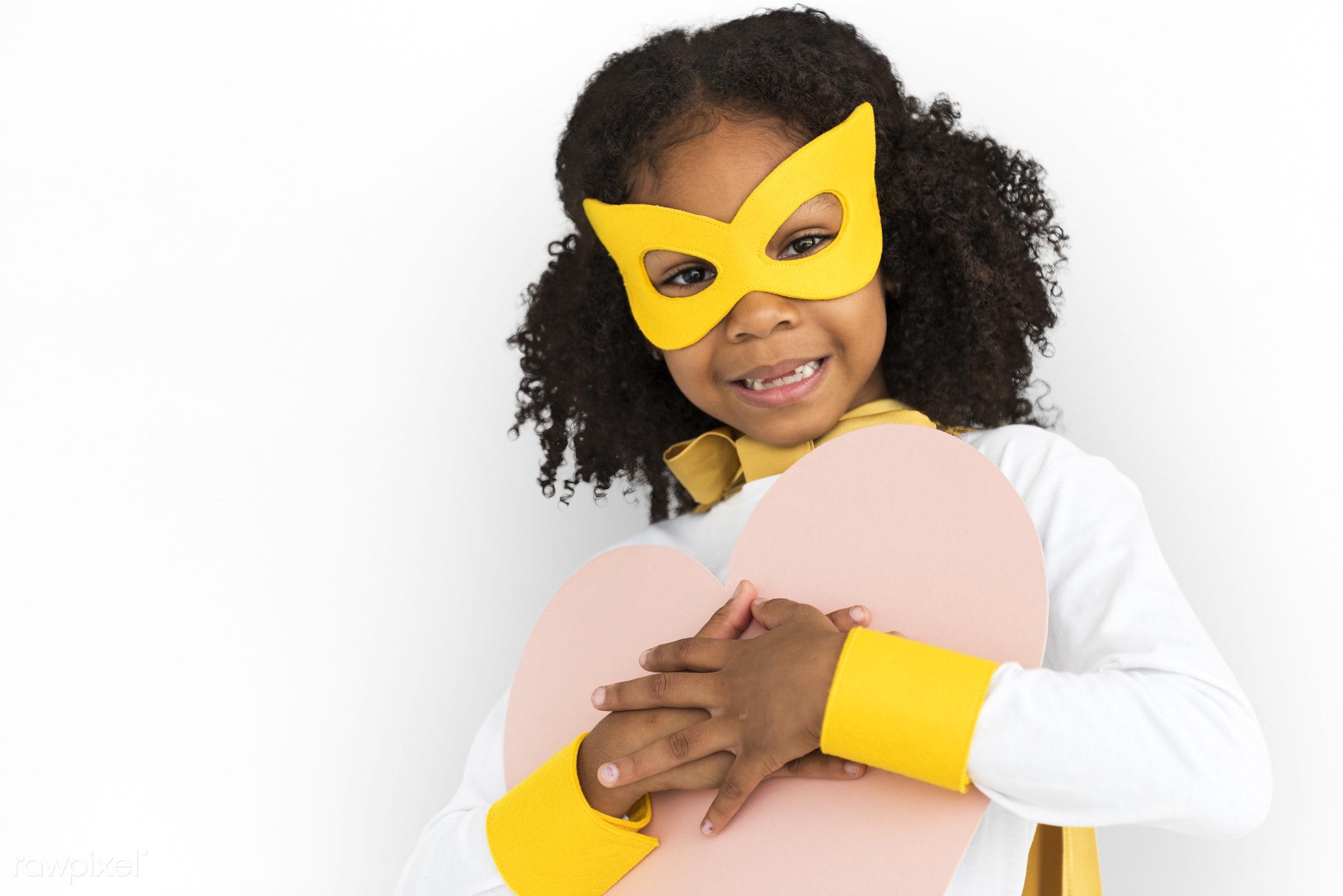 children, courageous, adolescence, kid, child, inspiration, girl, leader, idol, childhood, superhero, isolated, hero, heart...