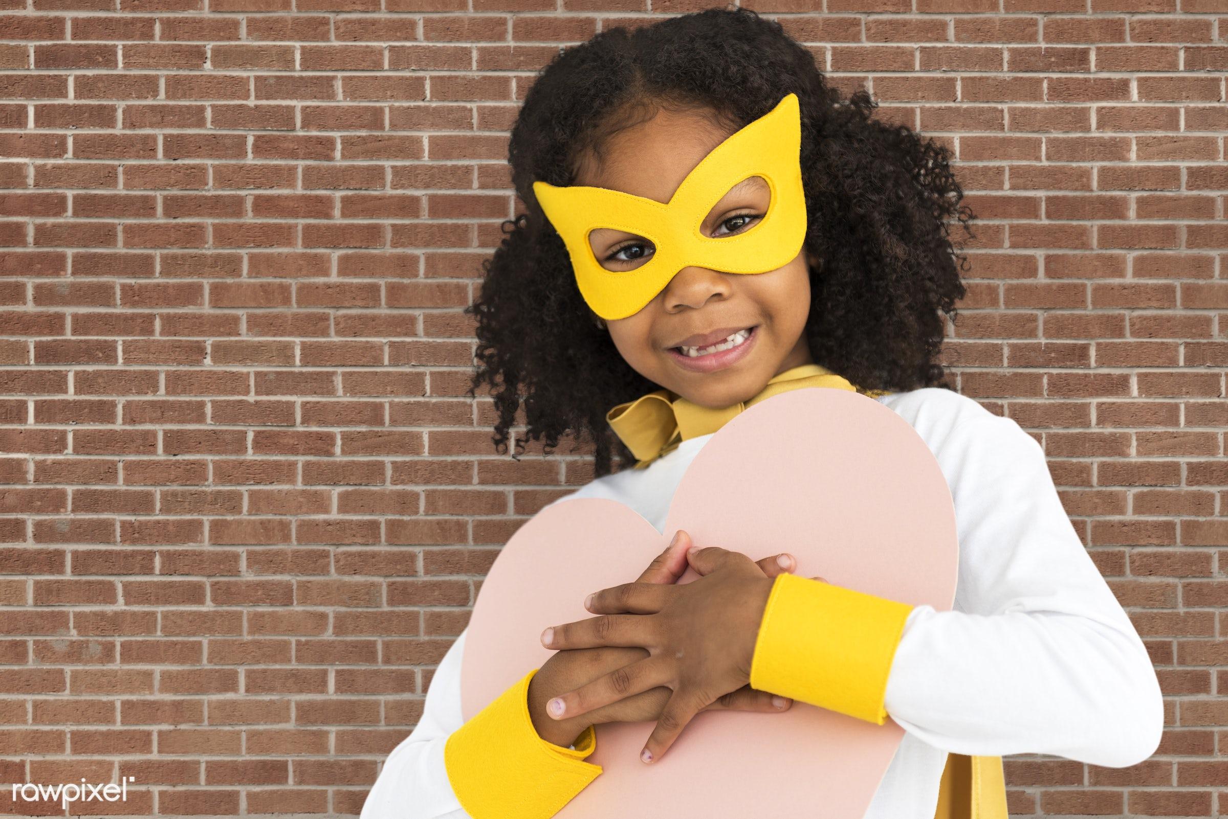 brick, children, courageous, adolescence, kid, child, inspiration, girl, leader, idol, childhood, superhero, isolated, heart...