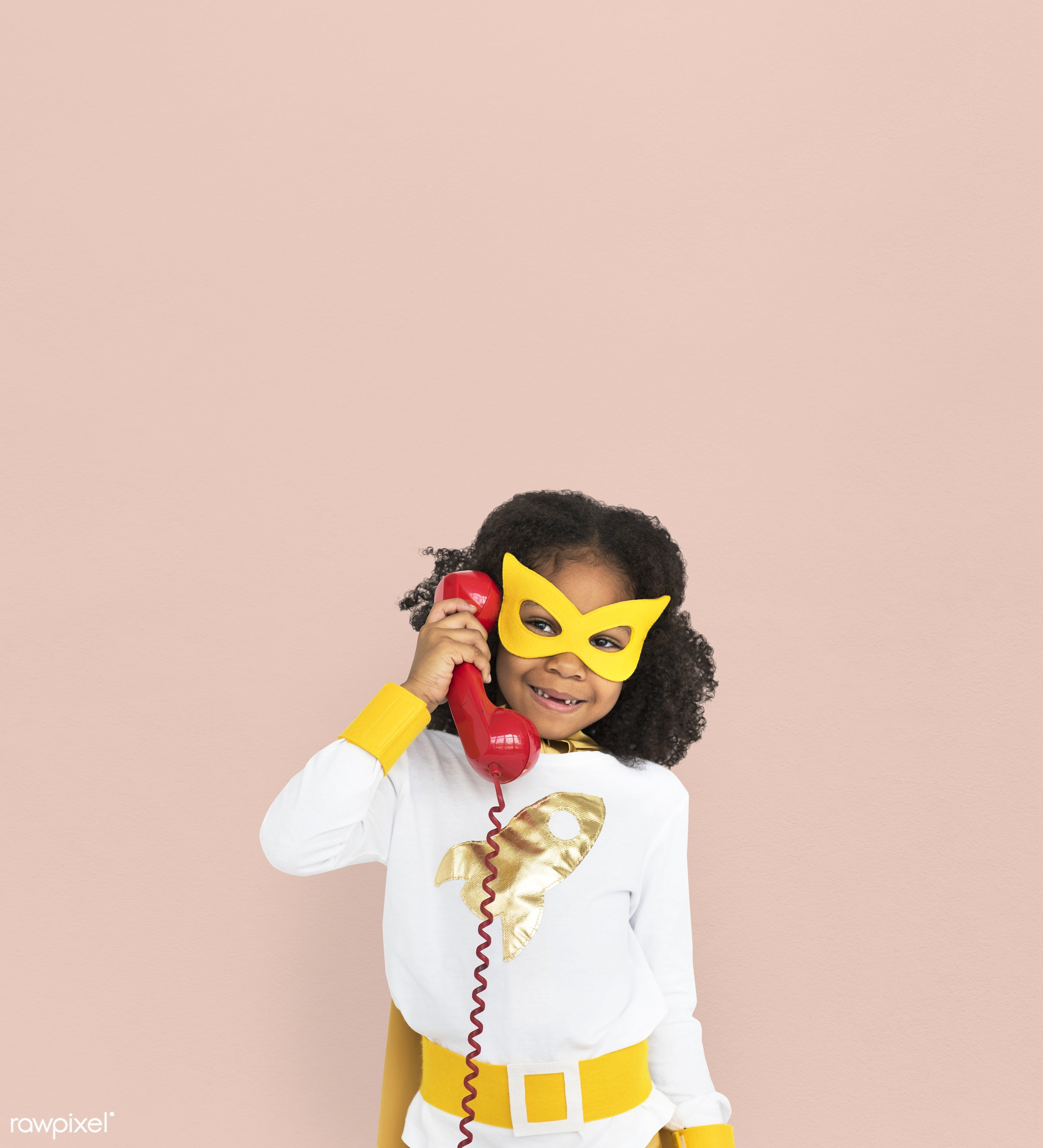 studio, expression, person, mask, people, kid, telecommunication, solo, pink, childhood, smile, cheerful, smiling, isolated...
