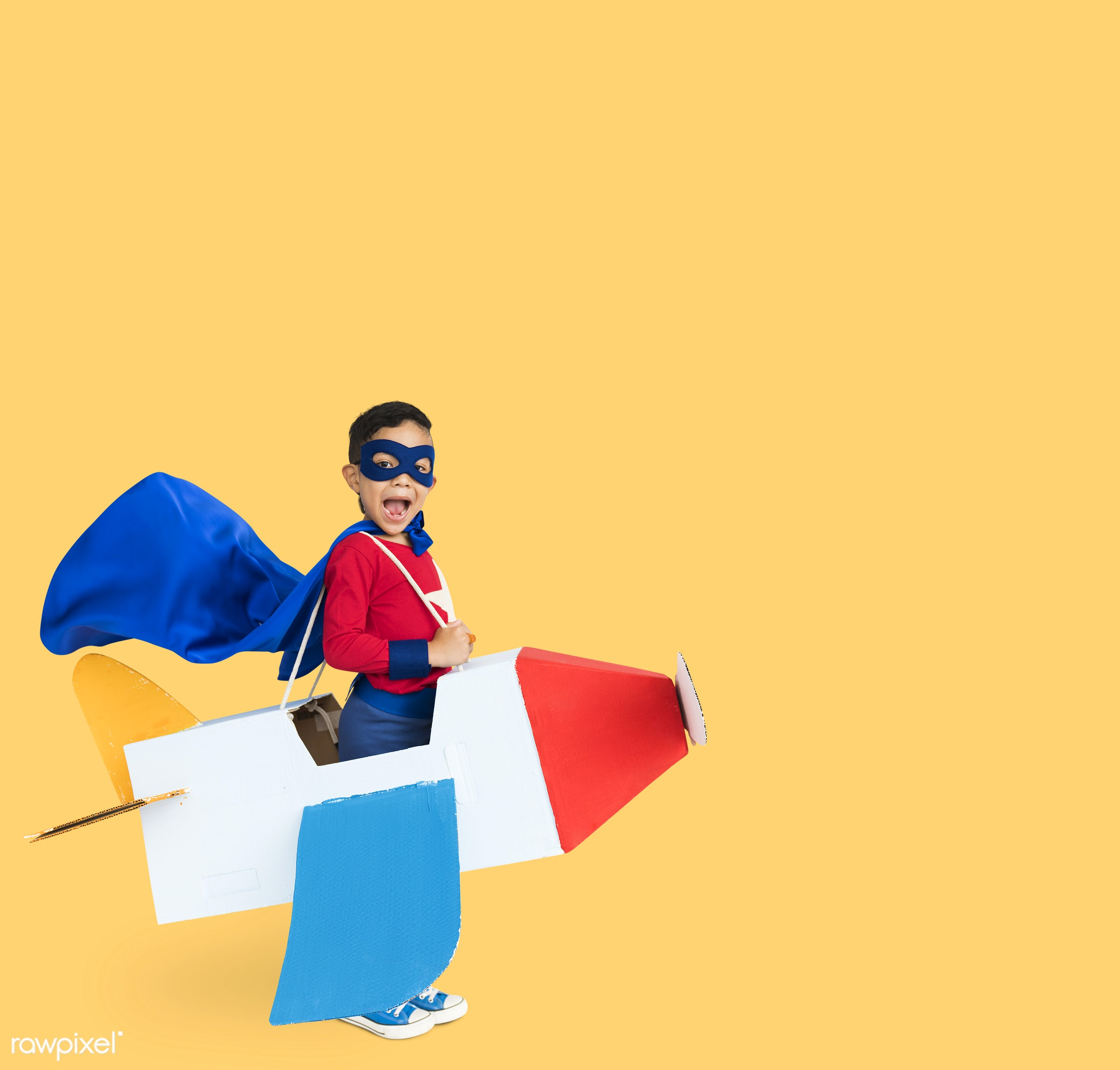 studio, expression, person, mask, yellow, people, kid, solo, childhood, smile, cheerful, smiling, isolated, airplane,...