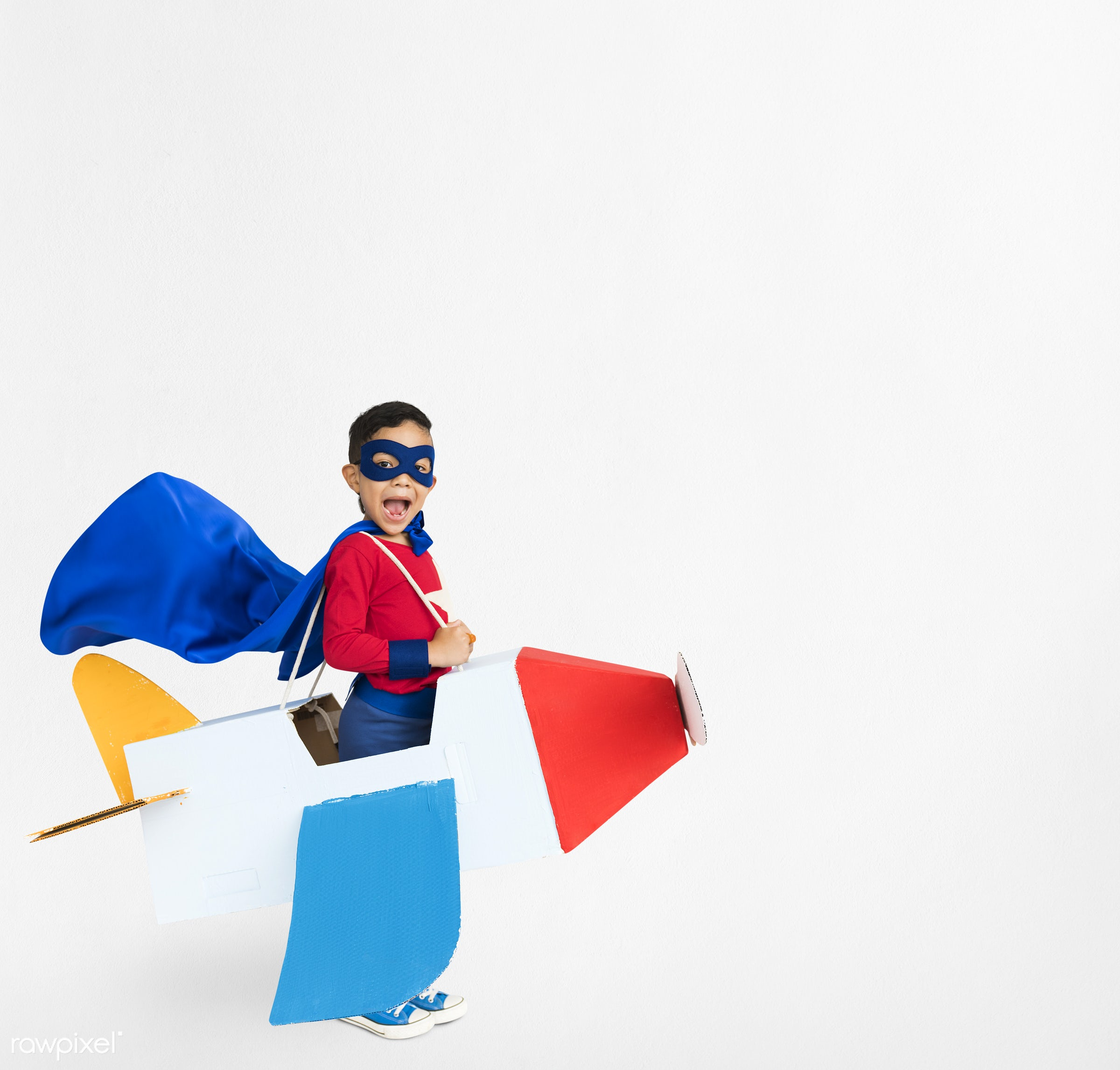 studio, expression, person, mask, people, kid, solo, childhood, smile, cheerful, smiling, isolated, airplane, white,...