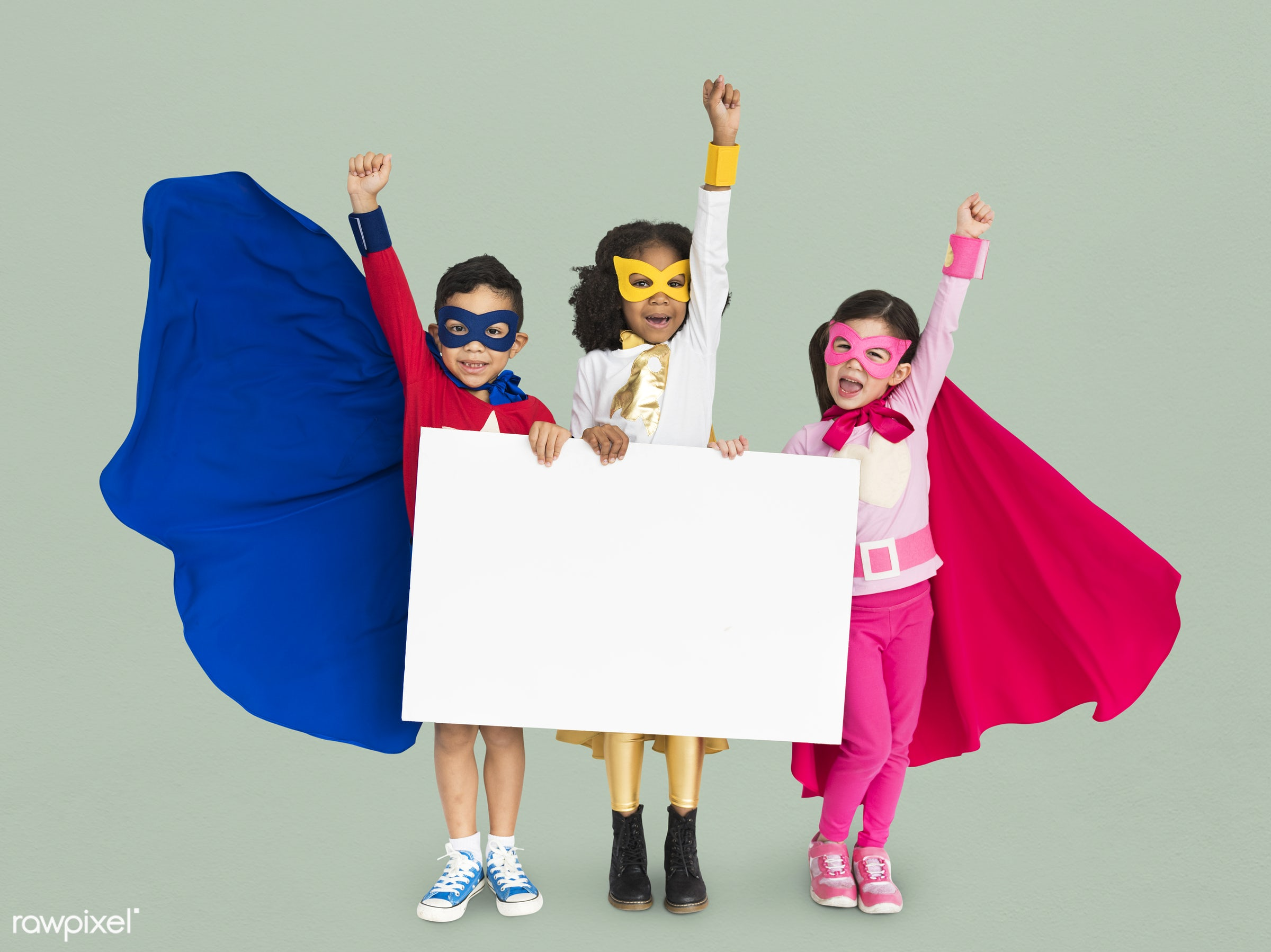 superhero, adorable, african descent, arms raised, asian, background, banner, blank, boy, charming, cheerful, childhood,...
