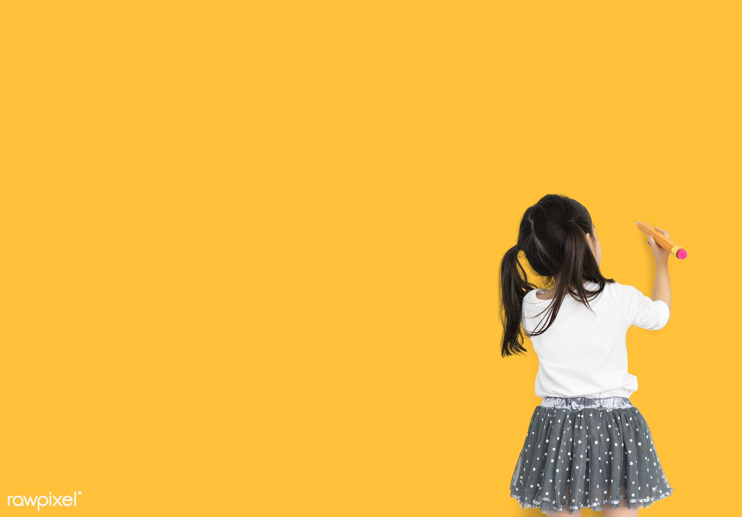 alone, asian, background, child, drawing, expression, focused, girl, isolated, kid, one, pencil, studio, young, youth