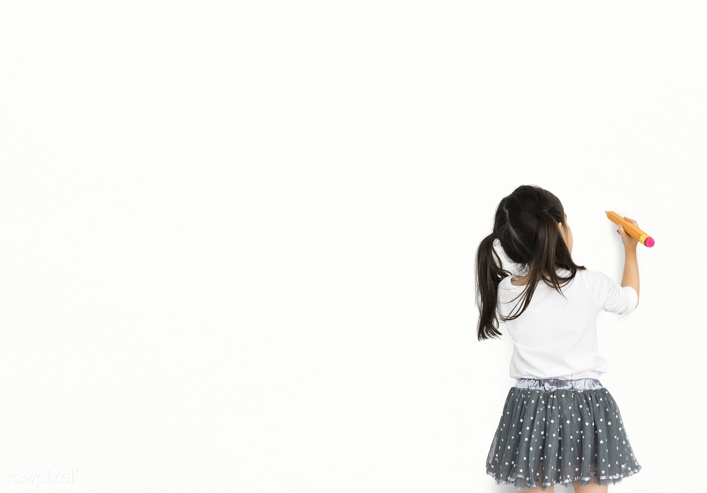 alone, asian, background, child, drawing, expression, focused, girl, isolated, isolated on white, kid, one, pencil, studio,...