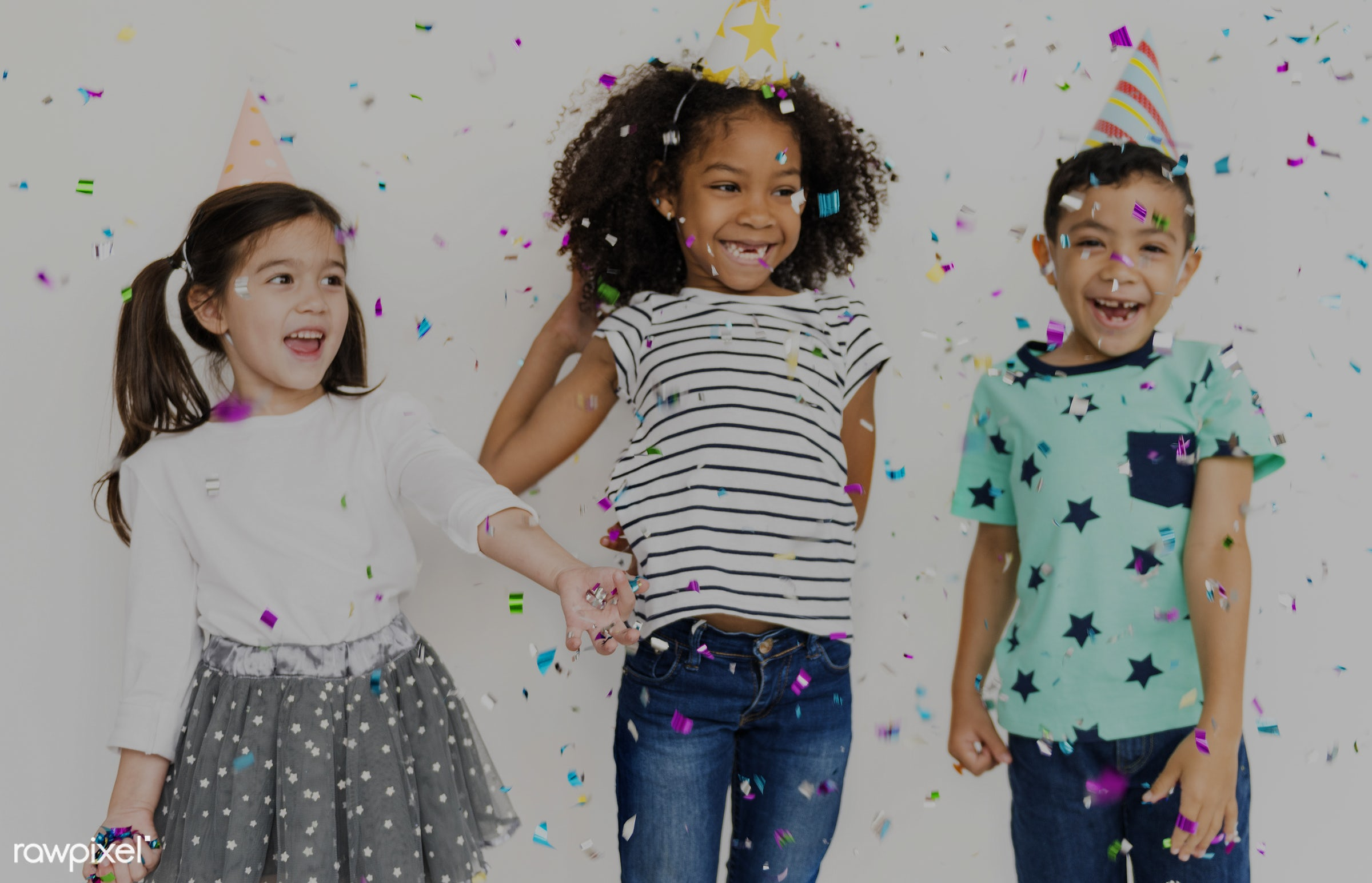 confetti, fun, party, happiness, cheerful, child, children, diversity, friends, friendship, group, isolated, kid, kids,...