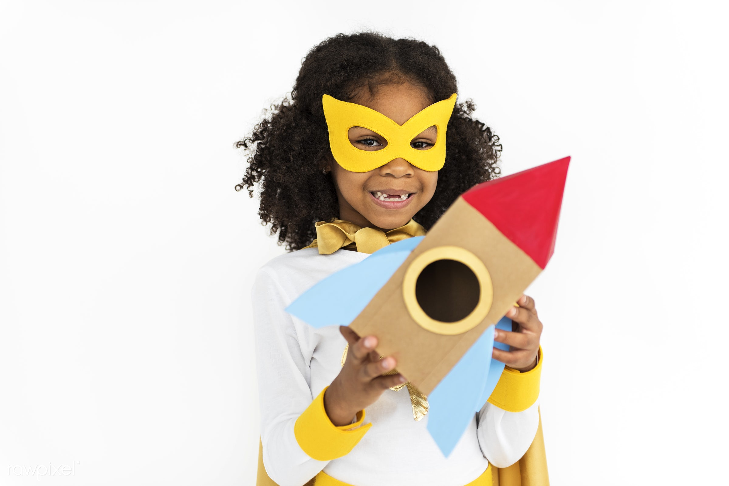 african descent, alone, black, cheerful, child, children, costume, girl, isolated, kid, one, playful, smiling, superhero,...