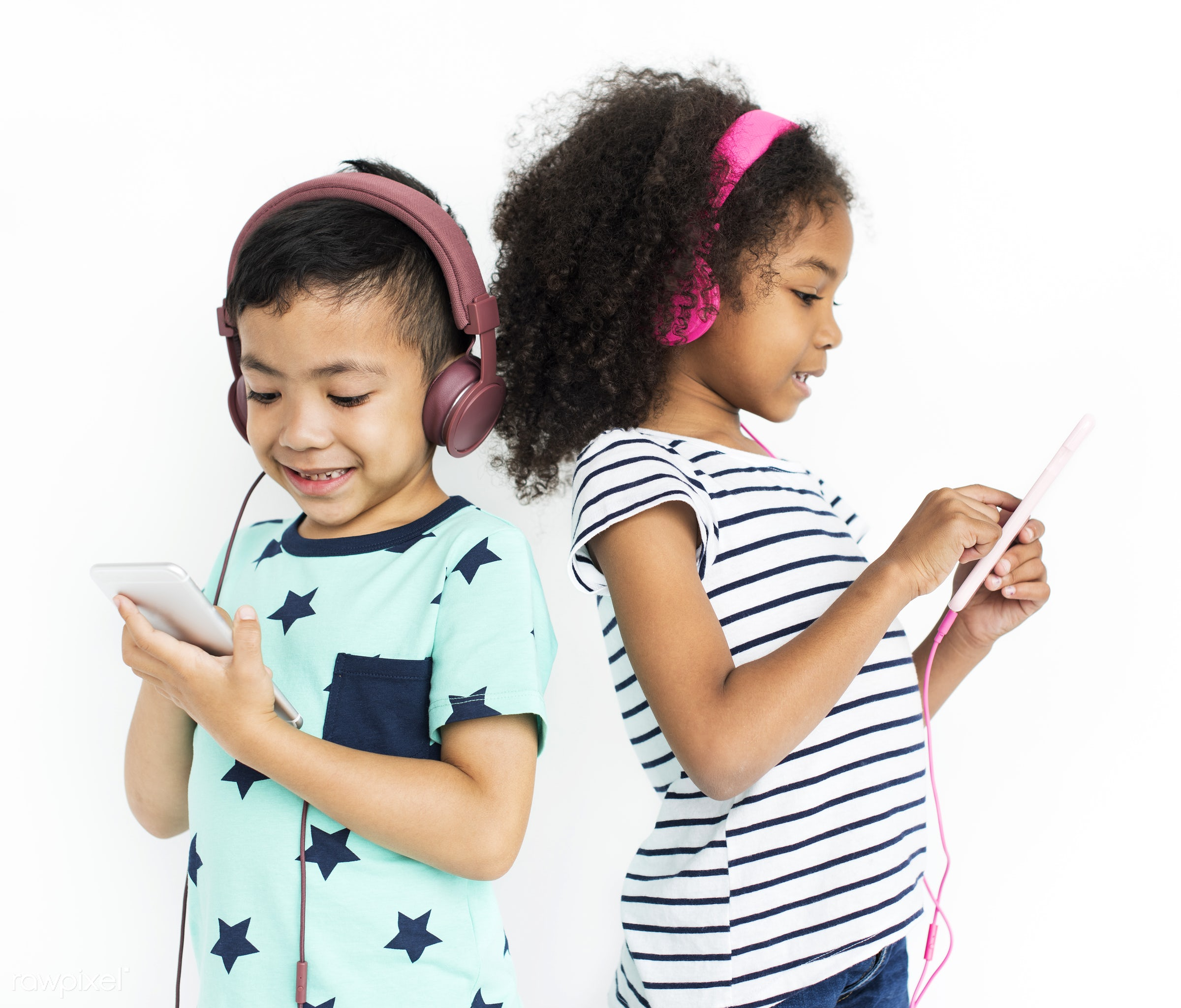 headphones, music, entertainment, listen, hobby, cheerful, child, children, diversity, friends, friendship, group, isolated...