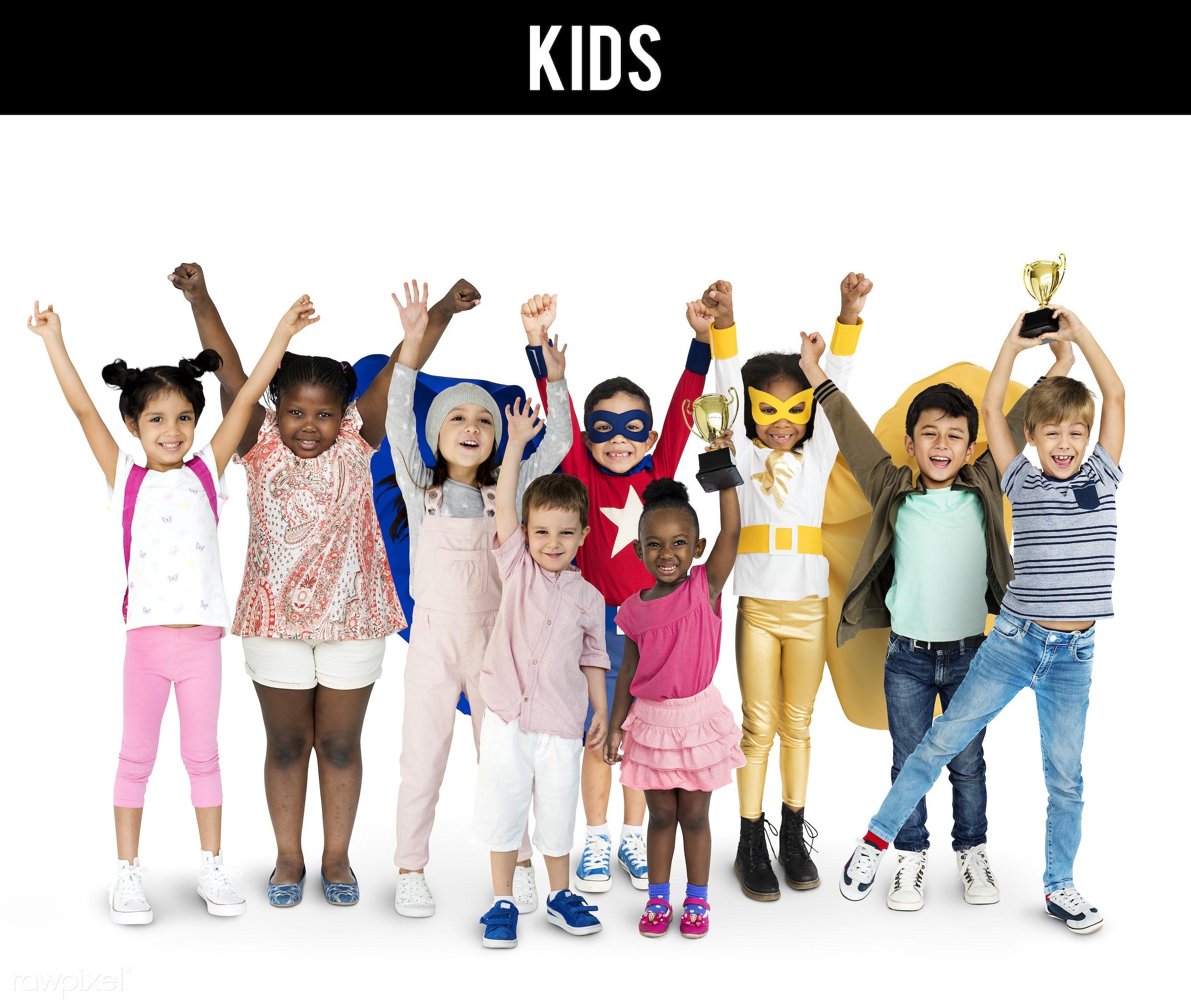 Diverse people set - studio, person, little, winner, people, together, kid, teamwork, friends, friendship, childhood,...
