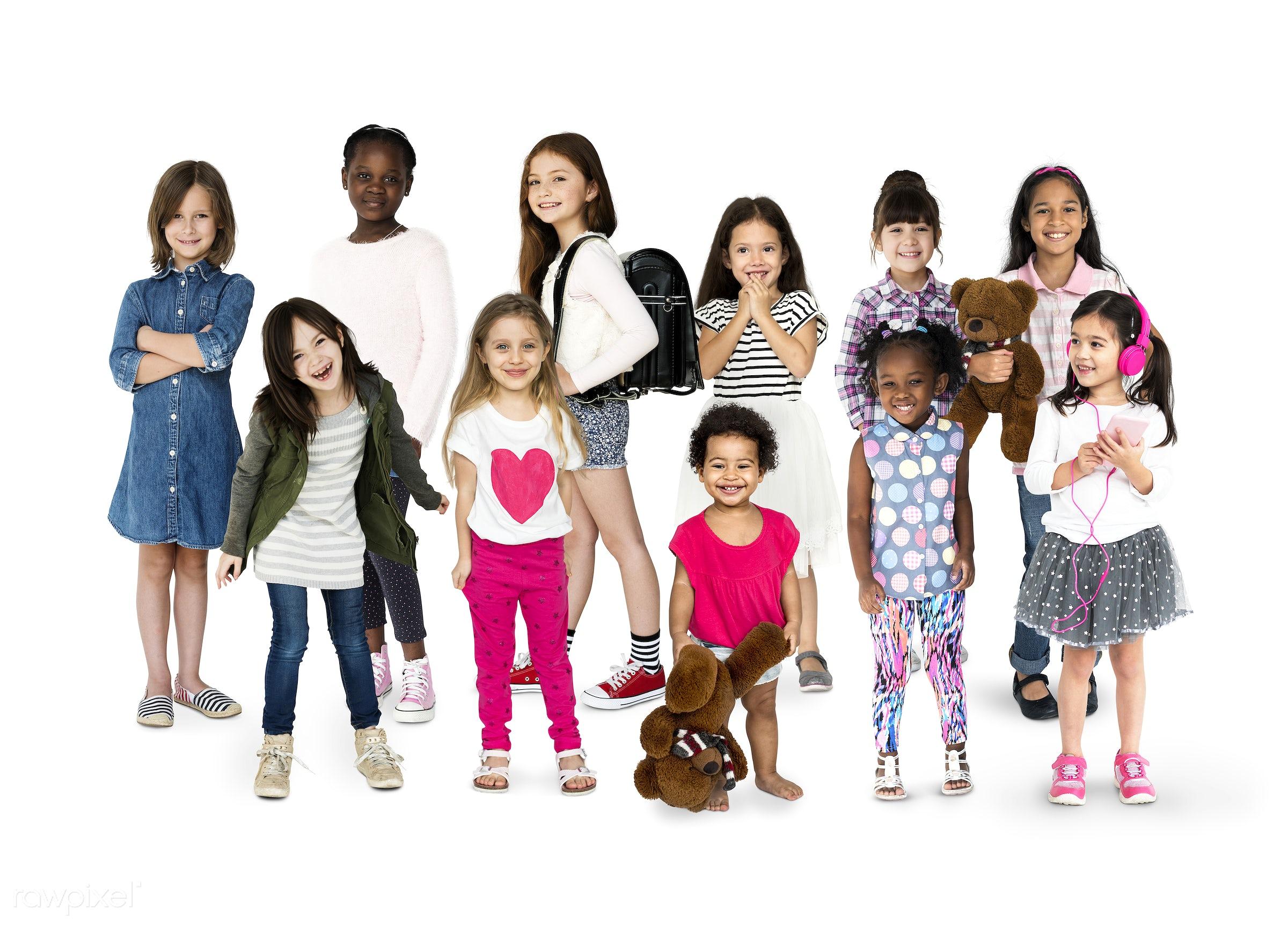 Diverse people set - studio, person, diverse, innocent, little, entertain, recreation, people, caucasian, asian, little...