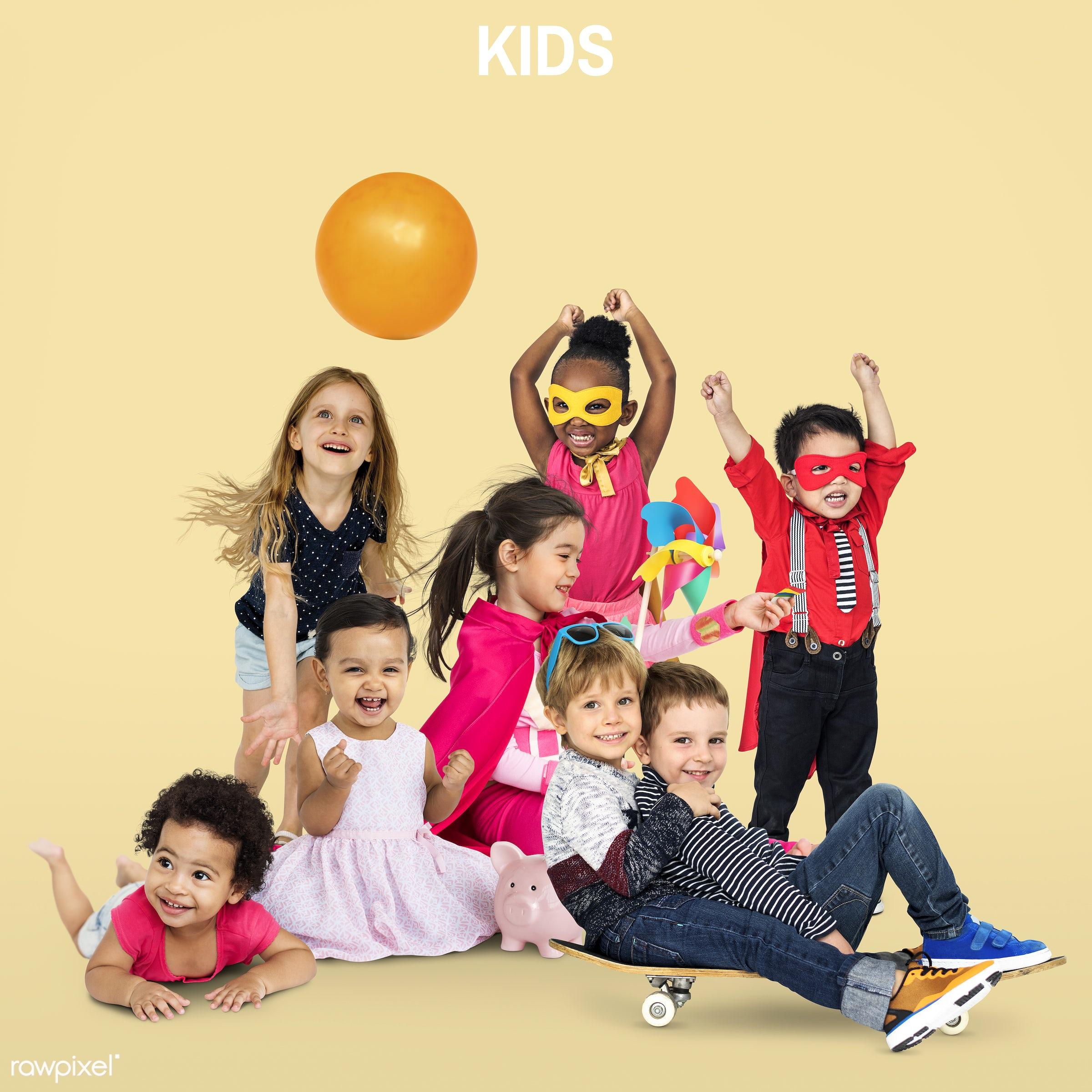 expression, little, bonding, people, together, caucasian, friends, lifestyle, friendship, childhood, studio squareset, smile...