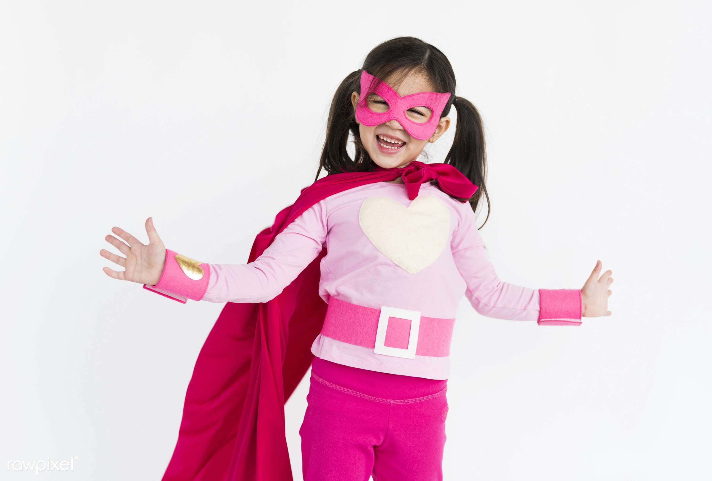 alone, asian, cheerful, child, children, costume, girl, isolated, kid, one, playful, smiling, superhero, young, youth