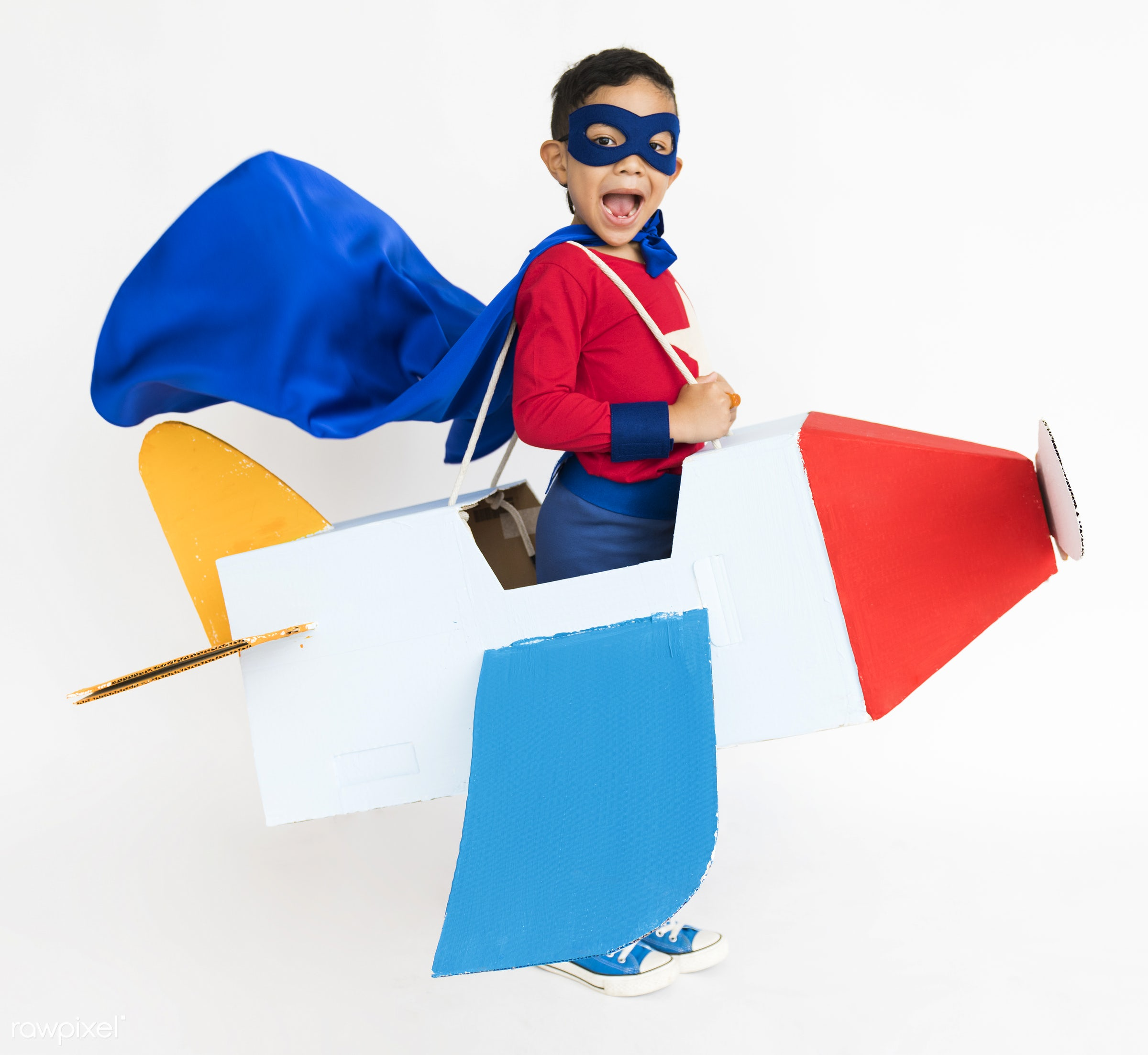 airplane, alone, boy, cheerful, child, children, costume, isolated, kid, kids, one, paper craft, playful, smiling, superhero...