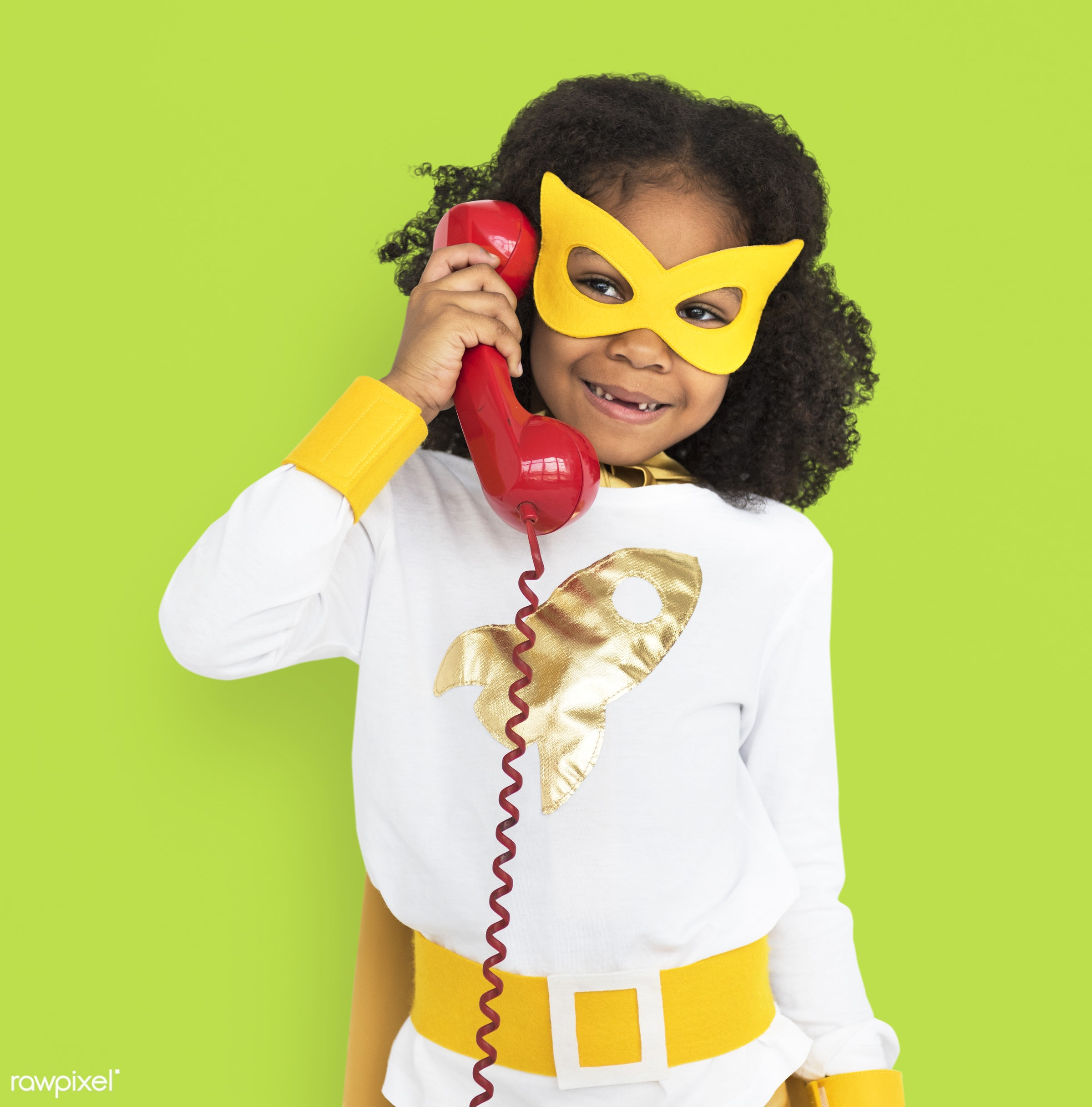 african descent, alone, black, cheerful, child, costume, girl, isolated, kid, landline, one, playful, retro, smiling, studio...