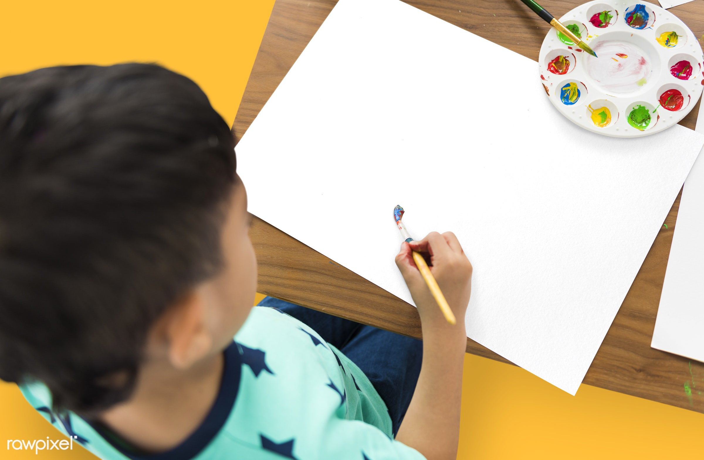 art, color, paints, painting, leisure, hobby, alone, boy, cheerful, child, children, isolated, kid, one, palette, paper,...