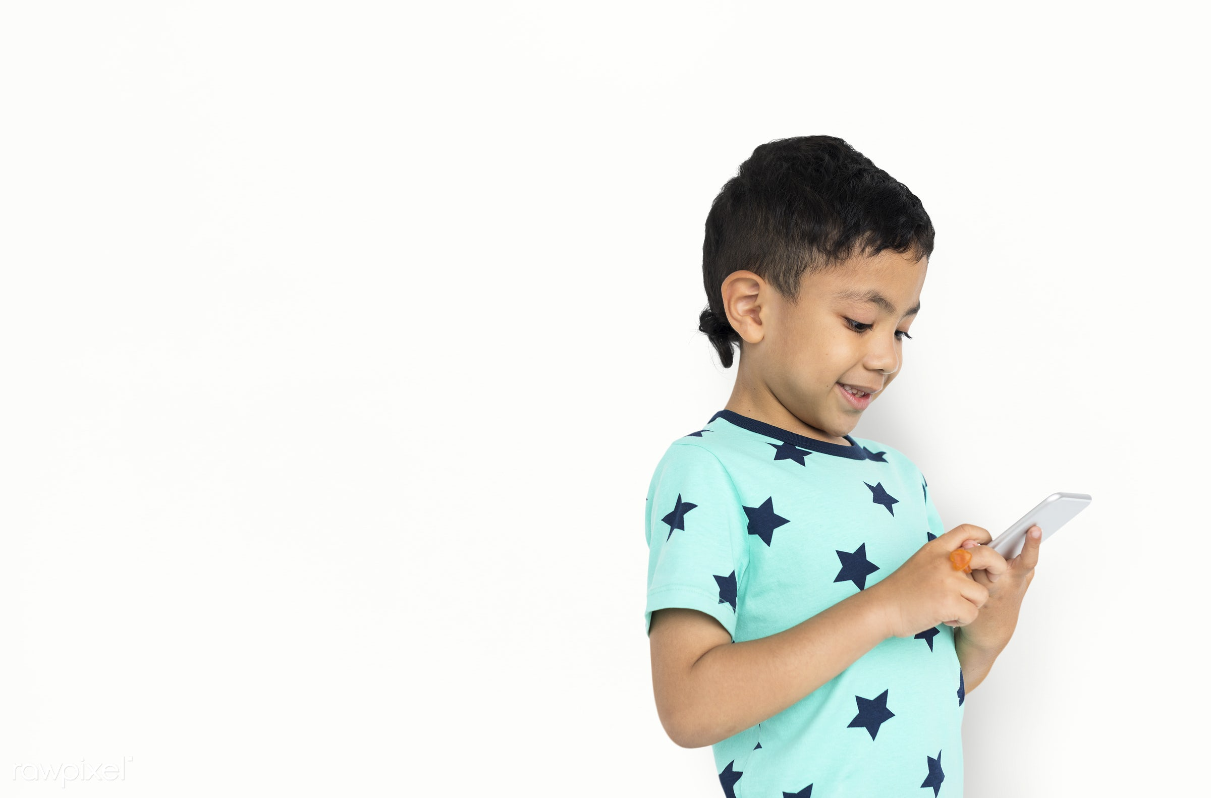expression, studio, person, phone, isolated on white, joy, little, cute, people, kid, child, joyous, happy, mobile phone,...