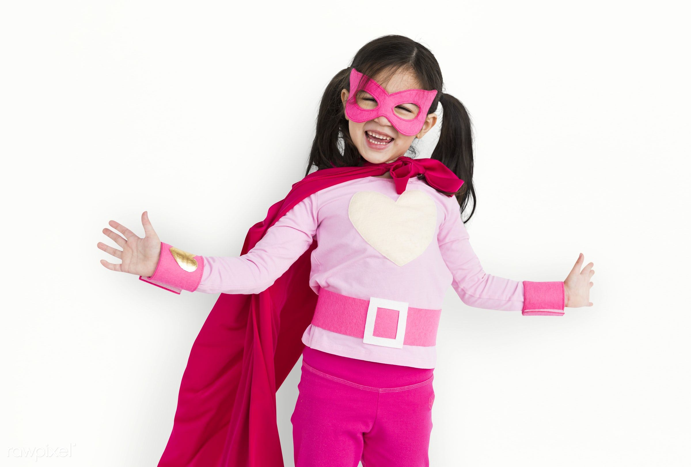 Young kids studio shoot - asian, child, expression, fun, girl, isolated, isolated on white, kid, playful, studio, superhero...