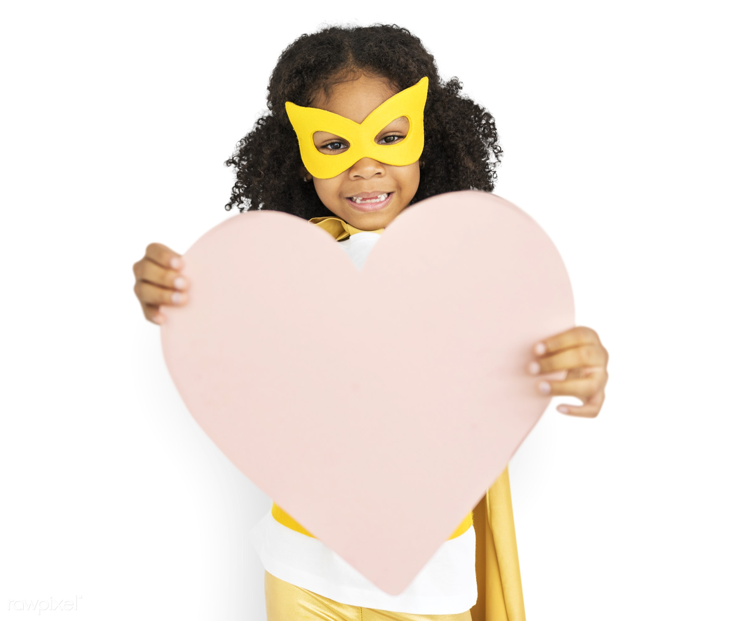 isolated on white, african descent, alone, black, cheerful, child, costume, girl, isolated, kid, mask, one, playful, smiling...