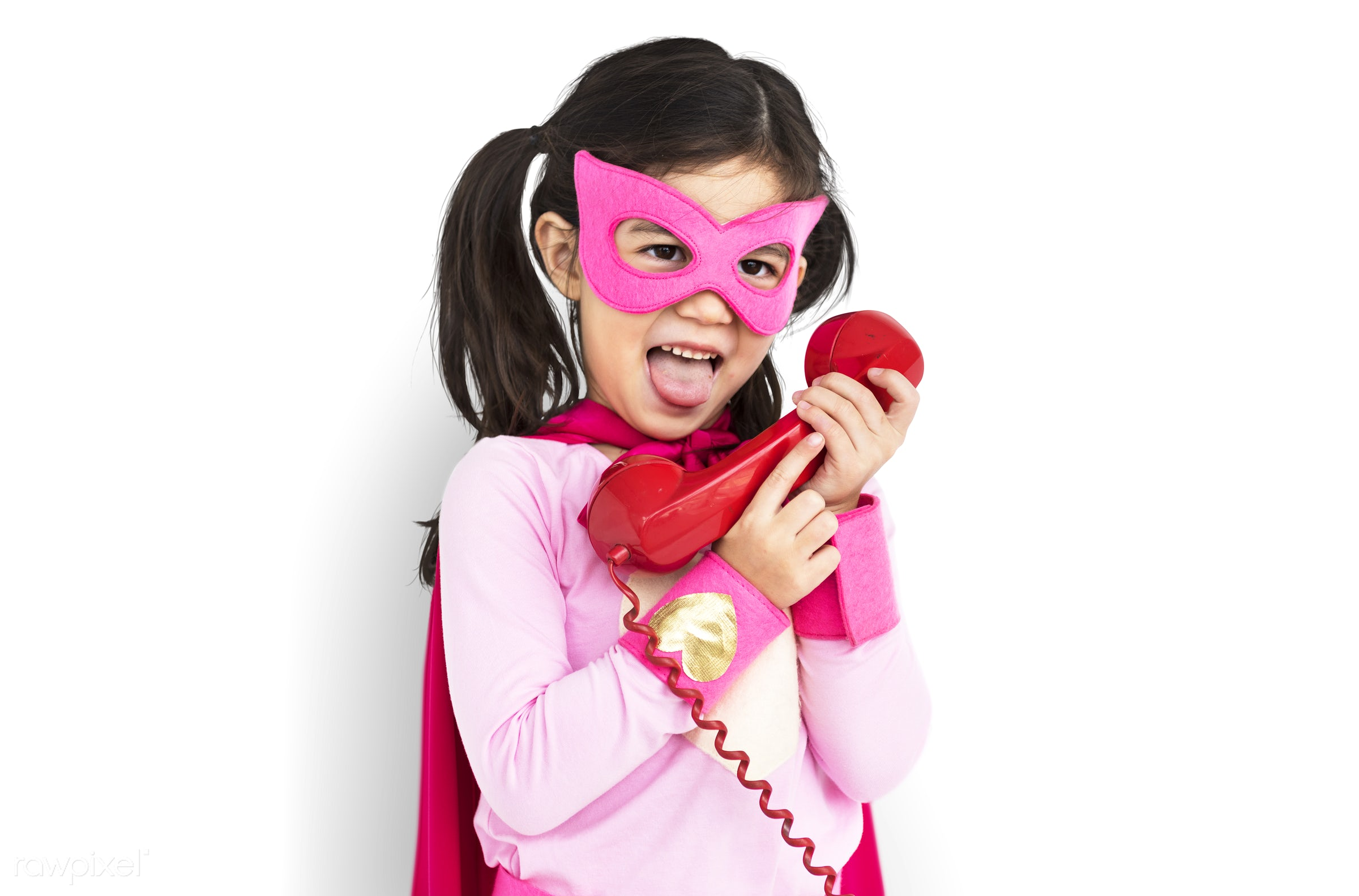 studio, expression, super hero, phone, person, isolated on white, children, little, calling, cute, people, kid, child, girl...