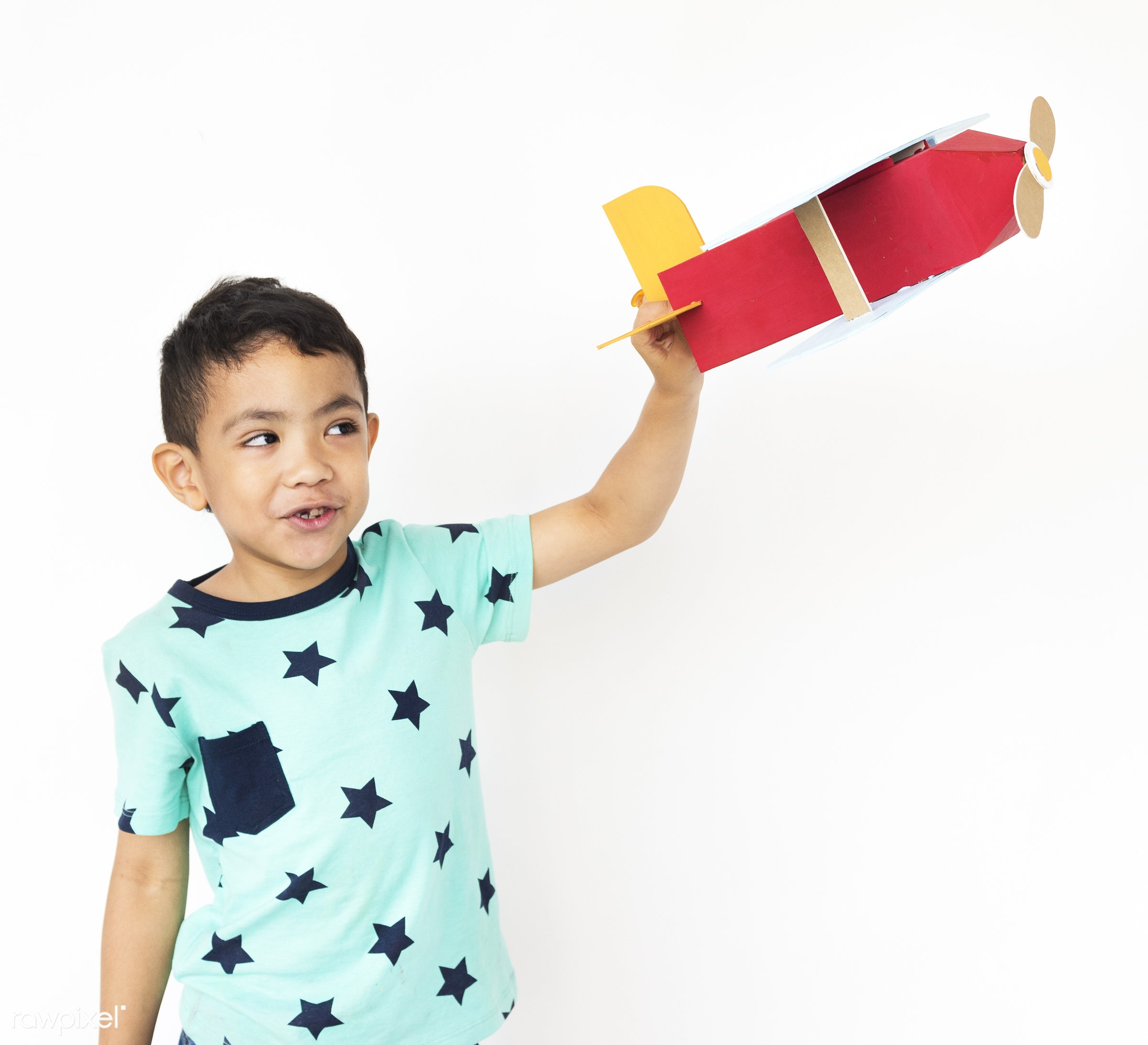 alone, boy, cheerful, child, children, isolated, kid, one, playful, smiling, young, youth, paper, paper craft, toy, airplane...
