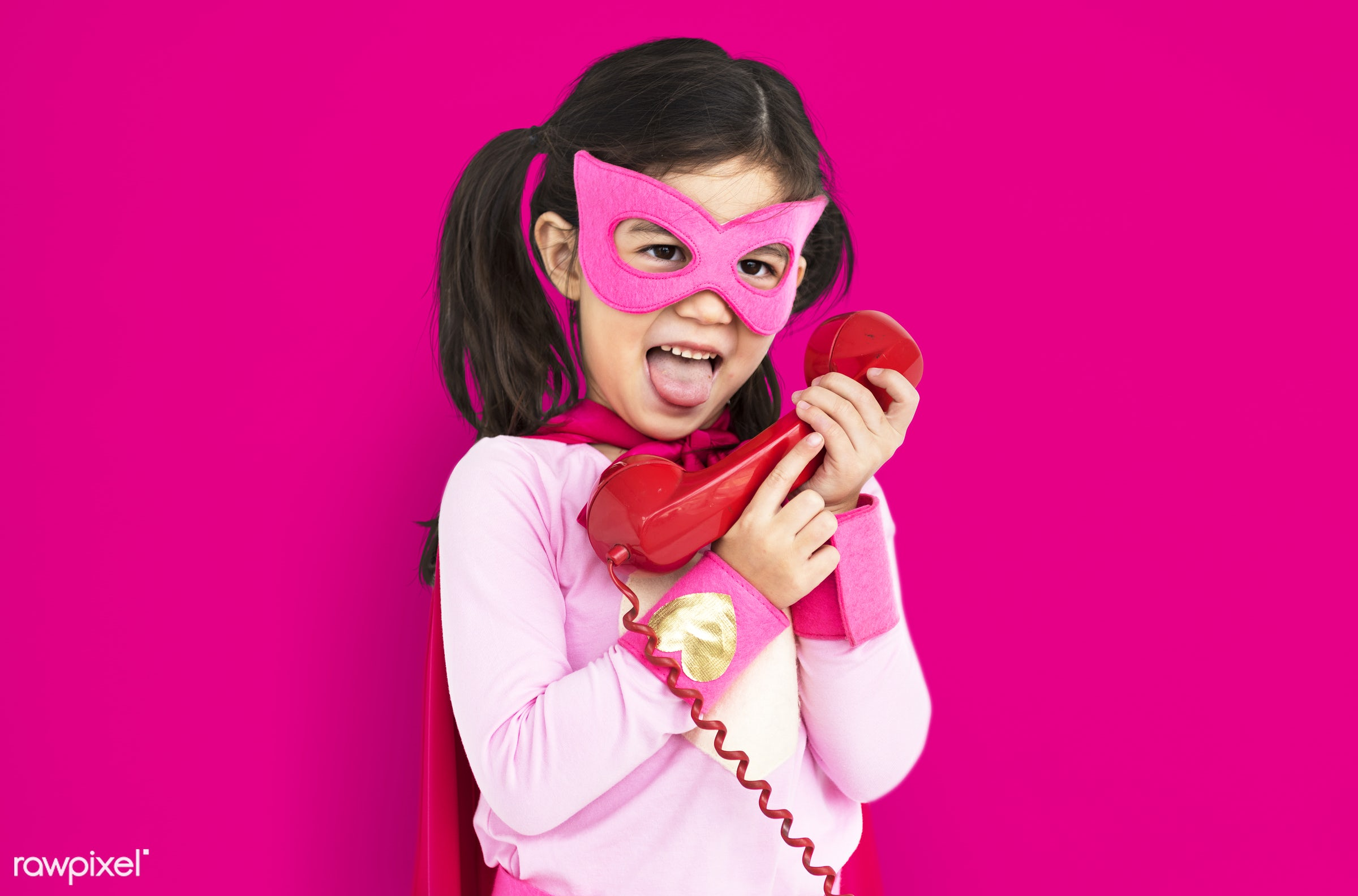 studio, expression, super hero, phone, person, little, children, calling, cute, people, kid, child, girl, happy, smile,...