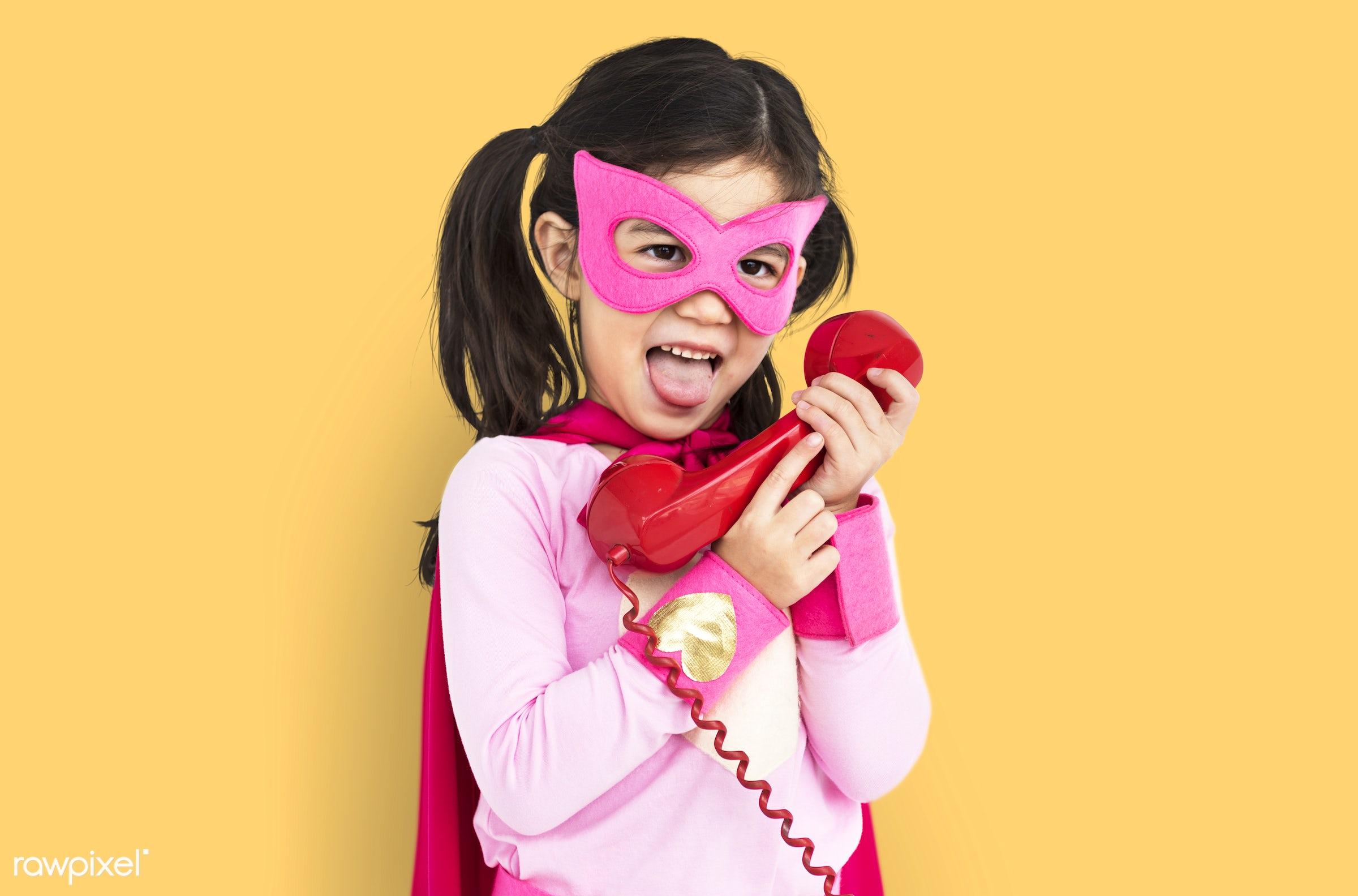 studio, expression, super hero, phone, person, little, children, calling, cute, people, kid, child, girl, happy, smile,...
