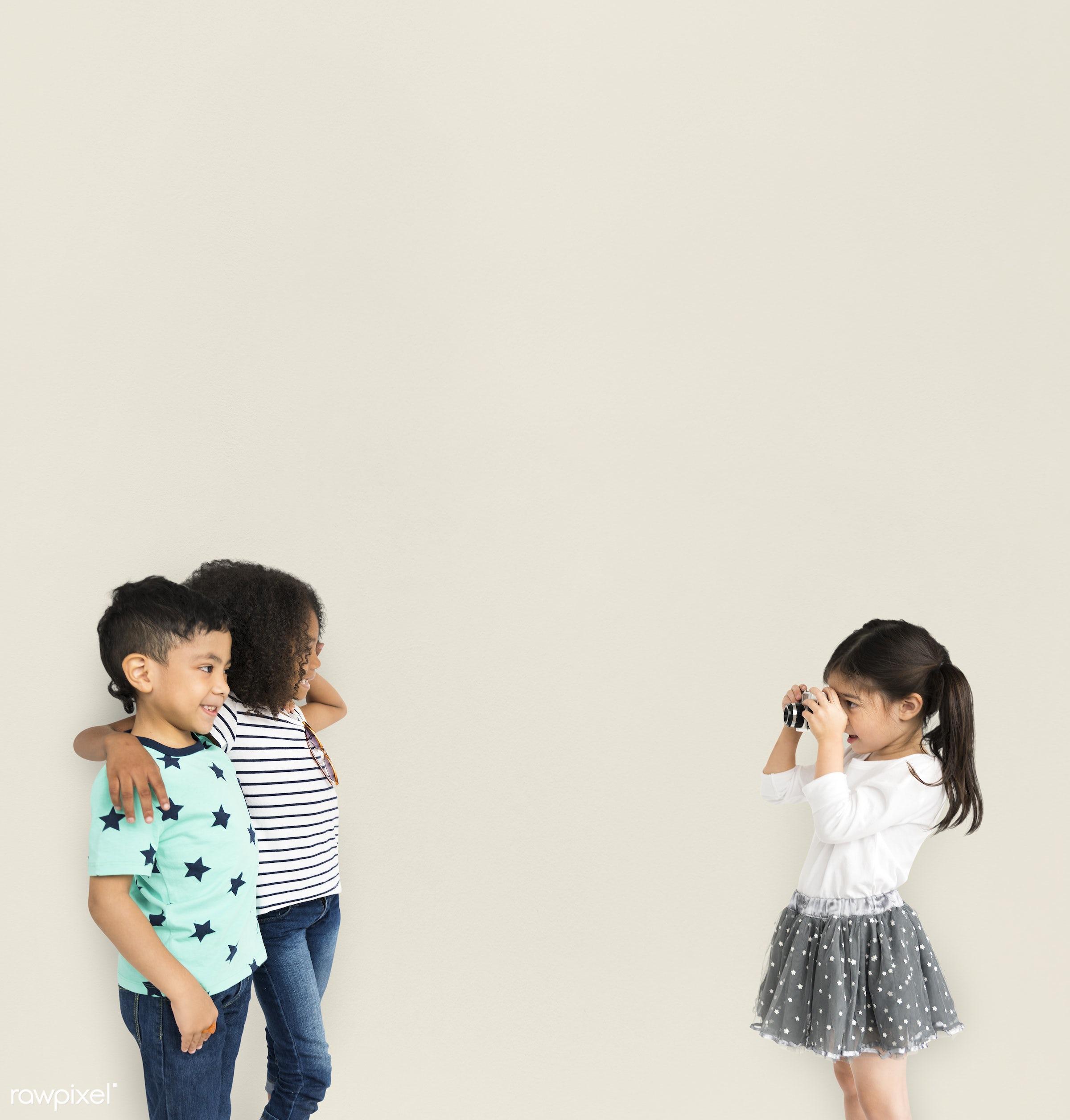 expression, studio, person, diverse, children, little, cute, people, together, positivity, pose, friends, happy, friendship...