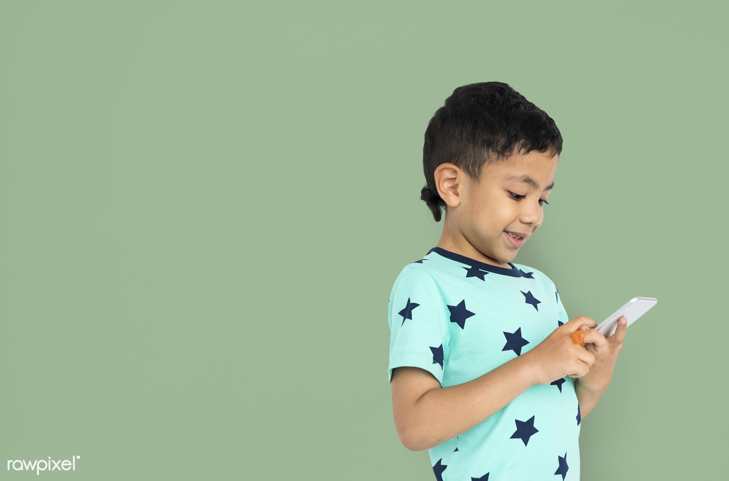 expression, studio, person, phone, joy, little, cute, people, kid, child, joyous, happy, mobile phone, cheerful, isolated,...