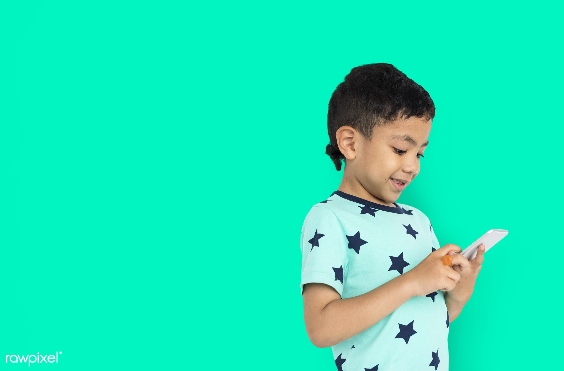studio, expression, phone, person, joy, little, cute, people, kid, child, joyous, happy, mobile phone, cheerful, isolated,...