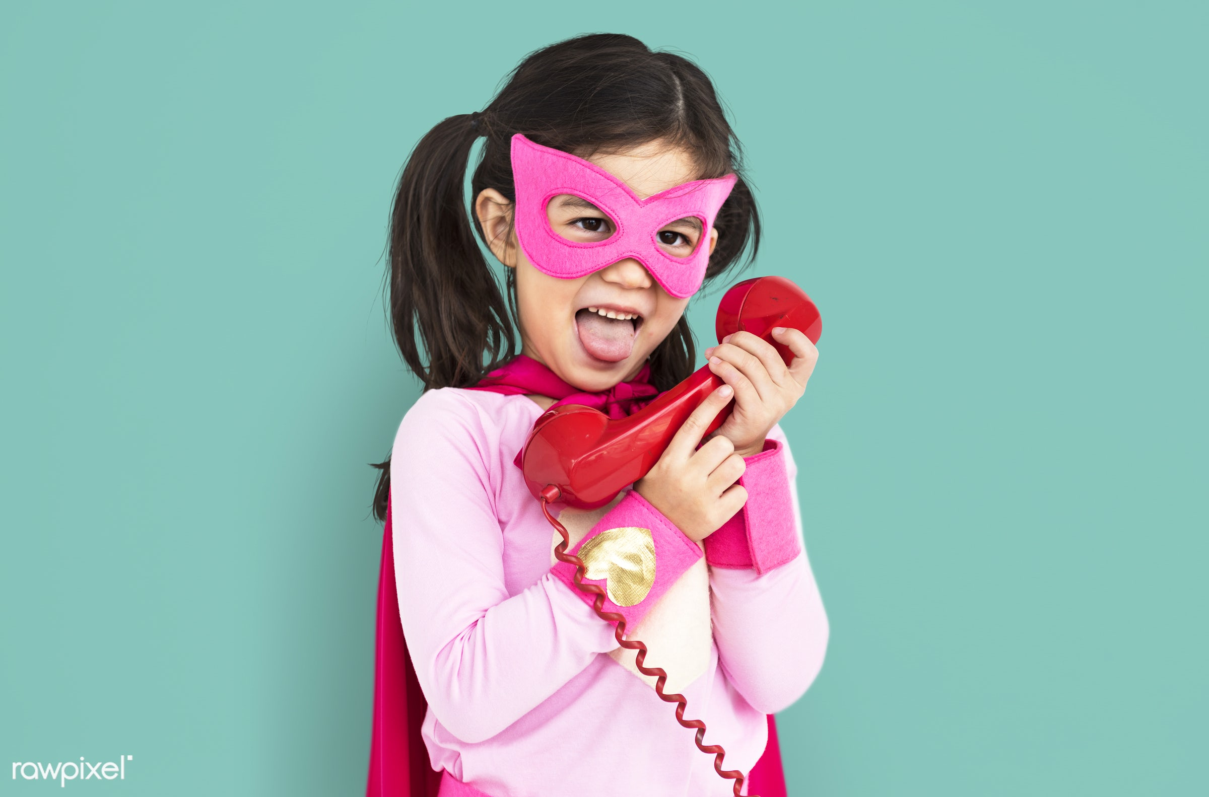 expression, studio, super hero, person, phone, children, little, calling, cute, people, kid, child, girl, happy, smile,...
