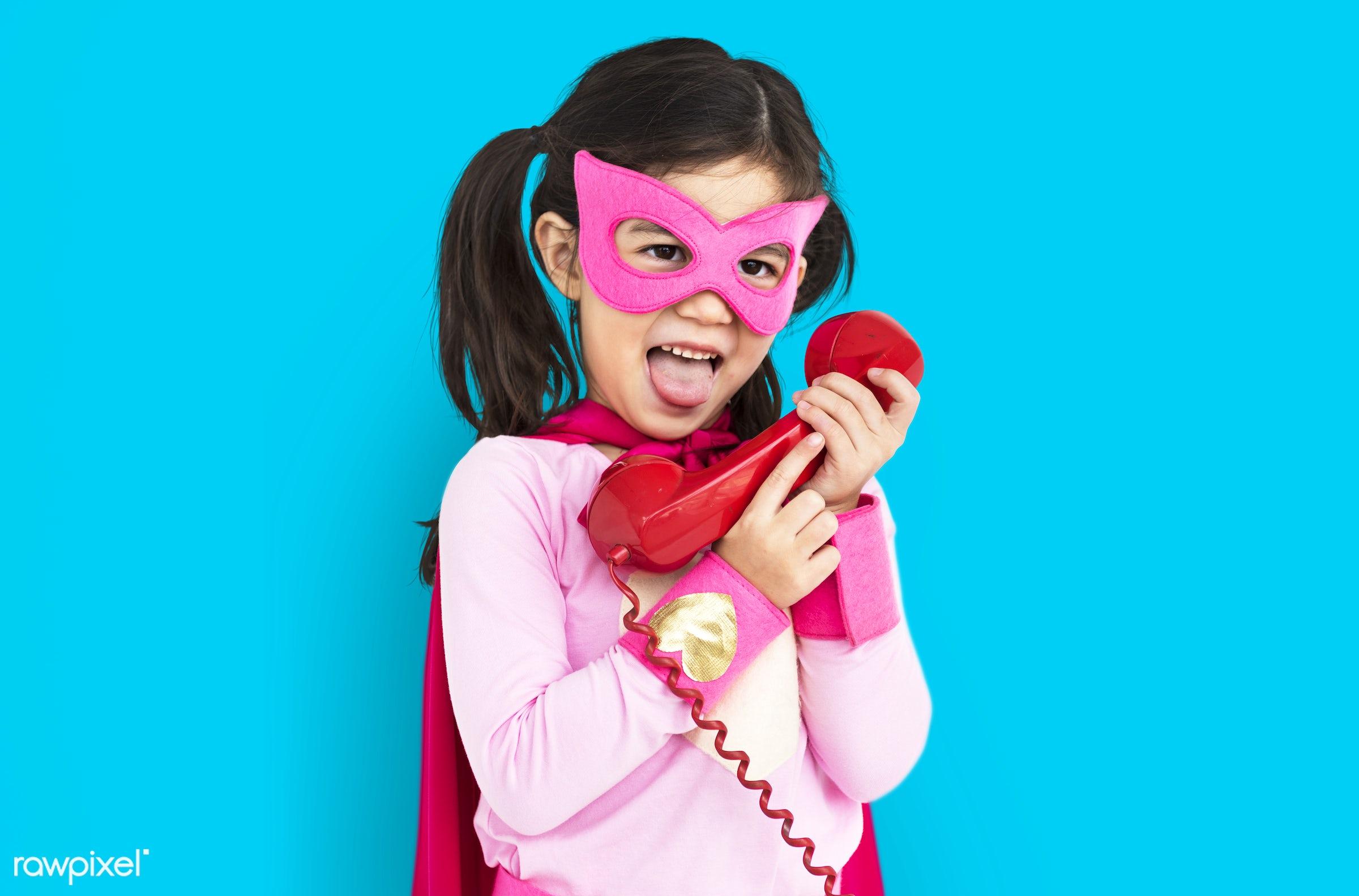 expression, studio, super hero, person, phone, children, little, calling, cute, people, kid, child, girl, happy, smile,...