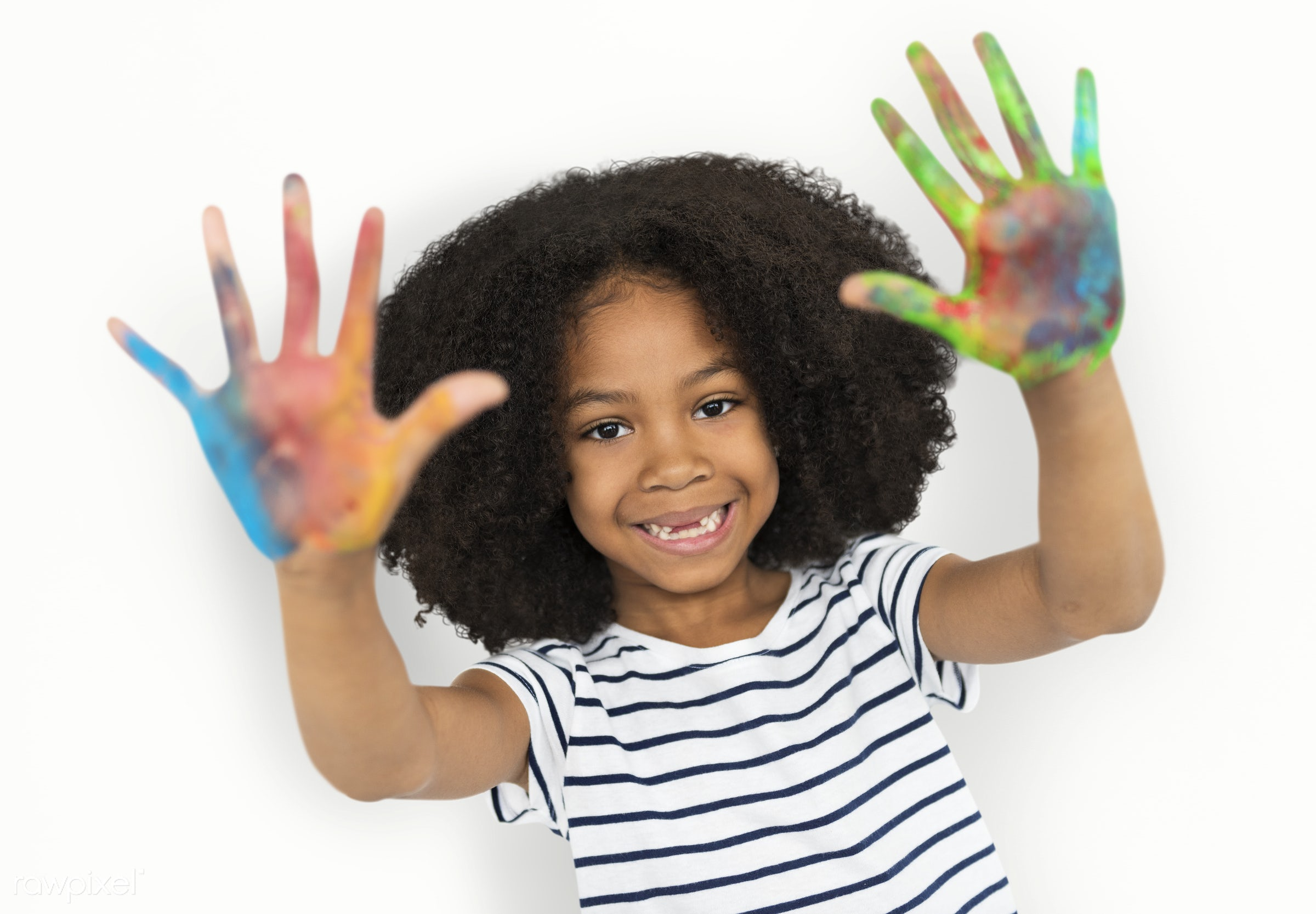 studio, expression, person, isolated on white, little, cute, people, painted hands, drawing, draw, child, girl, happy,...