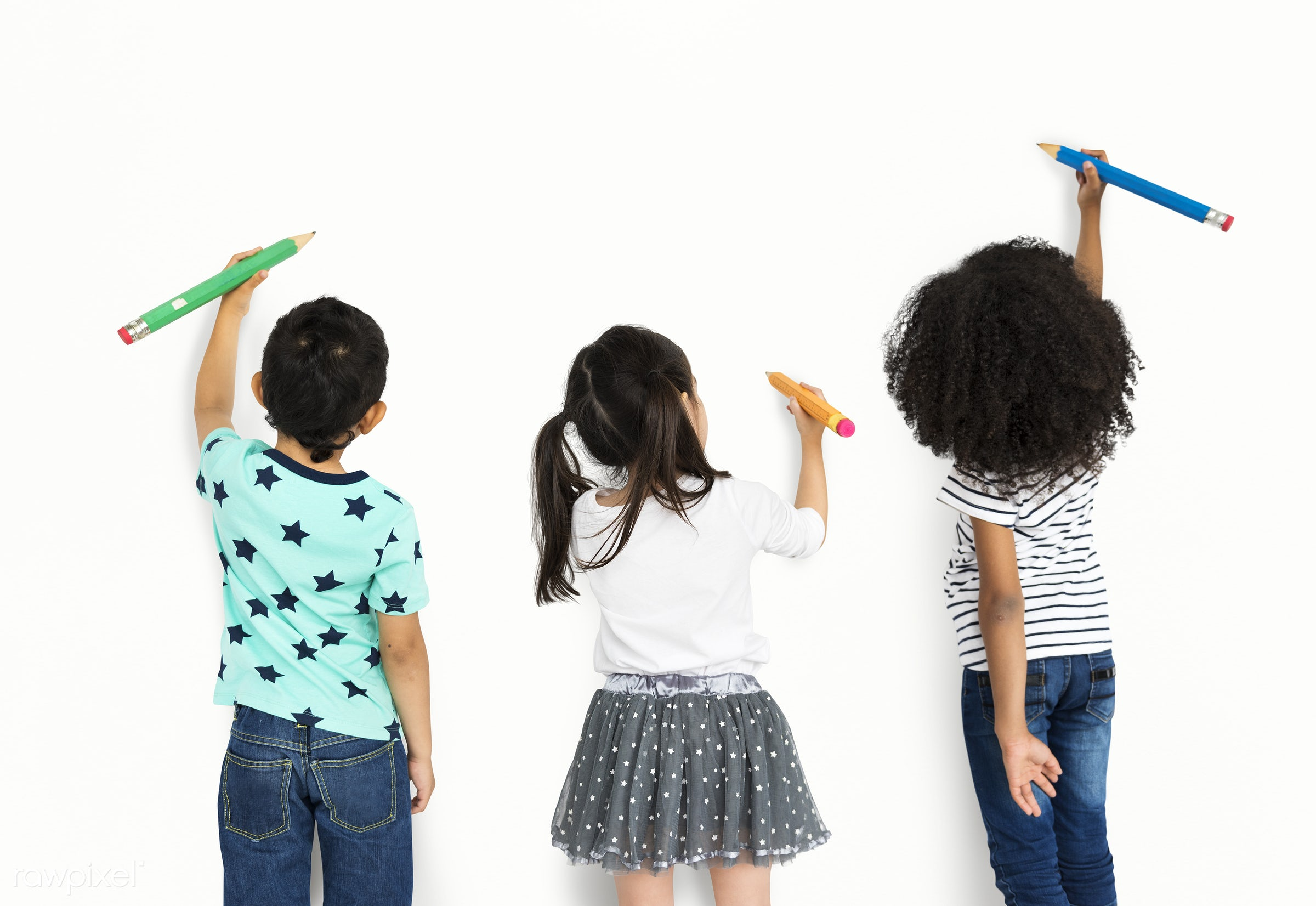 studio, expression, person, diverse, isolated on white, little, children, people, creativity, together, drawing, draw, pose...