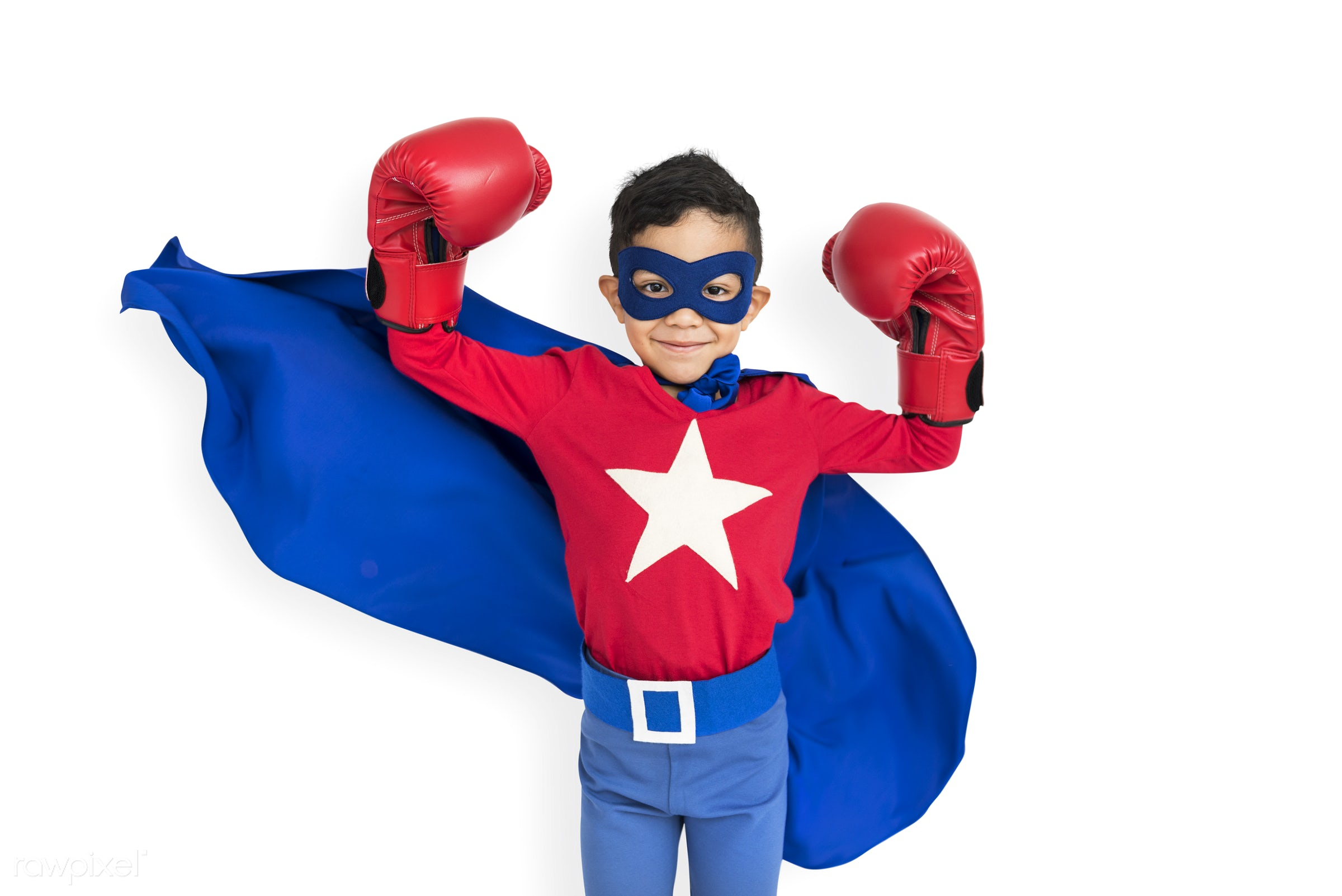 alone, boy, cheerful, child, costume, isolated, kid, one, playful, smiling, superhero, young, youth