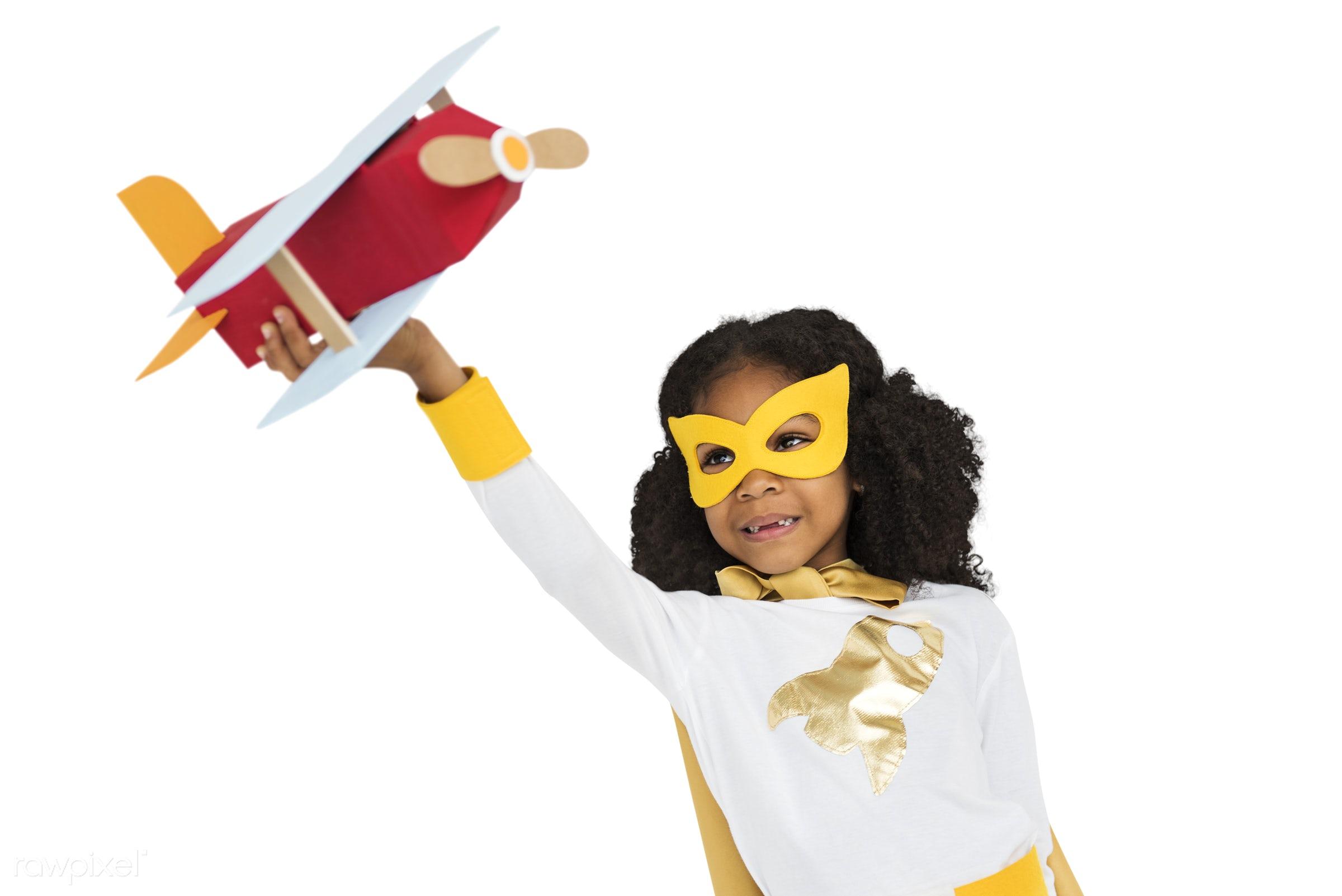 african descent, airplane, alone, cheerful, child, children, costume, girl, isolated, kid, kids, one, paper craft, playful,...