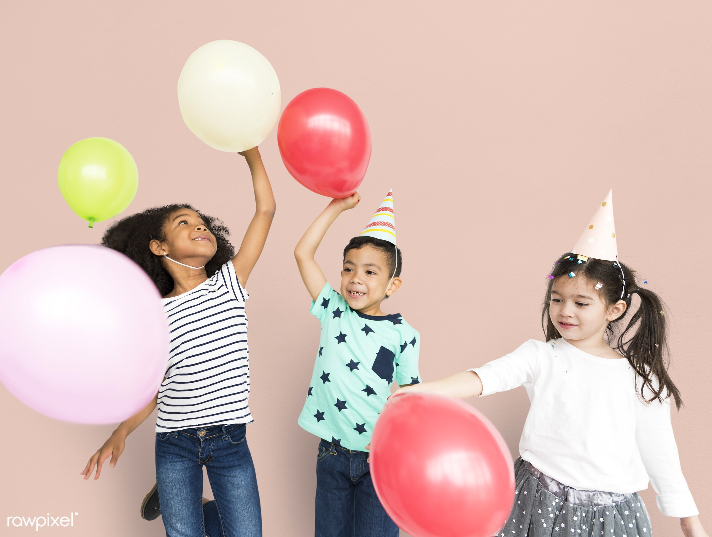 balloons, playing, party, fun, happiness, hat, cheerful, child, children, diversity, friends, friendship, group, isolated,...